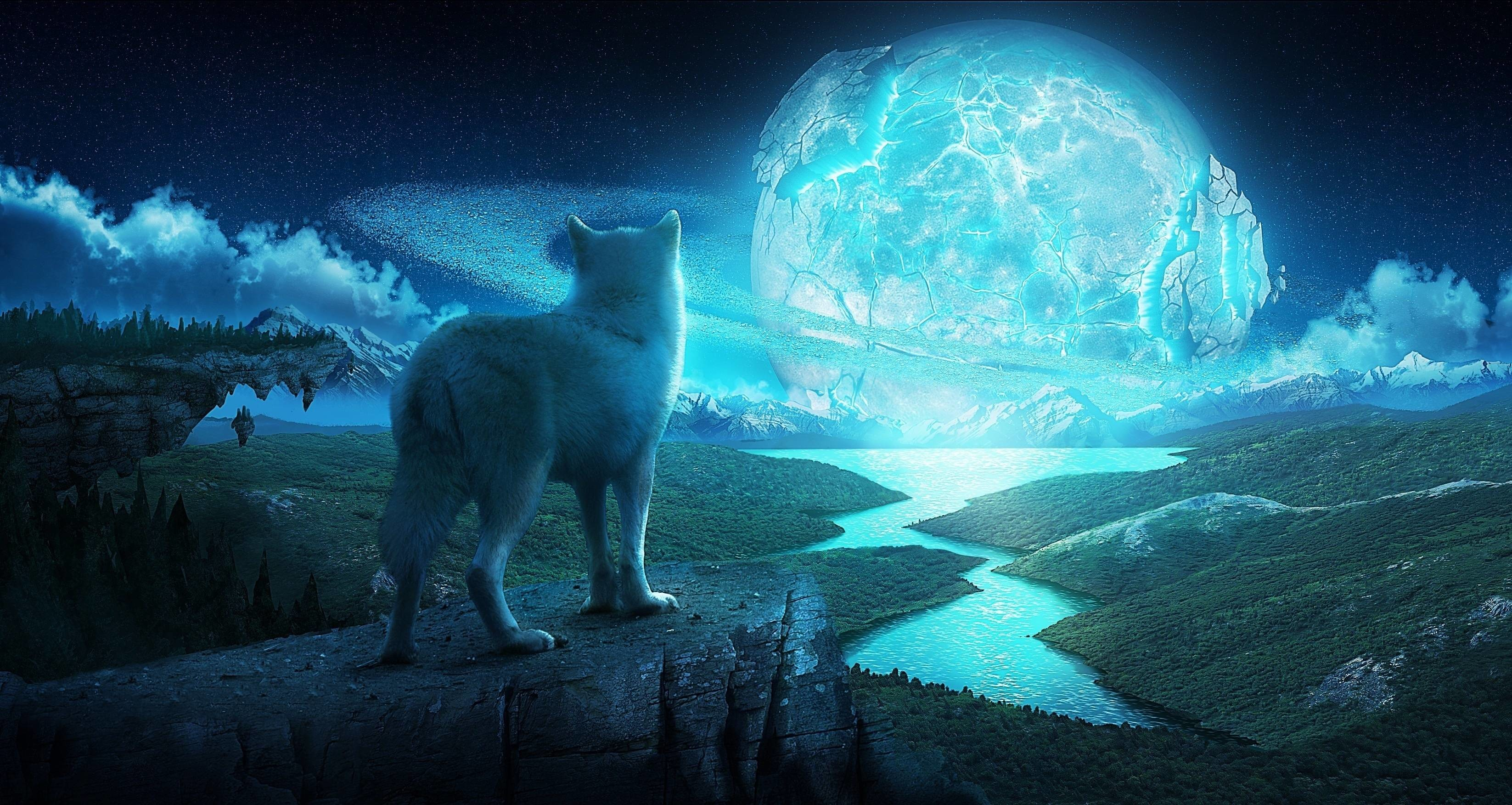 3293x1752 Wallpapers For > Mystical Wolves Wallpaper