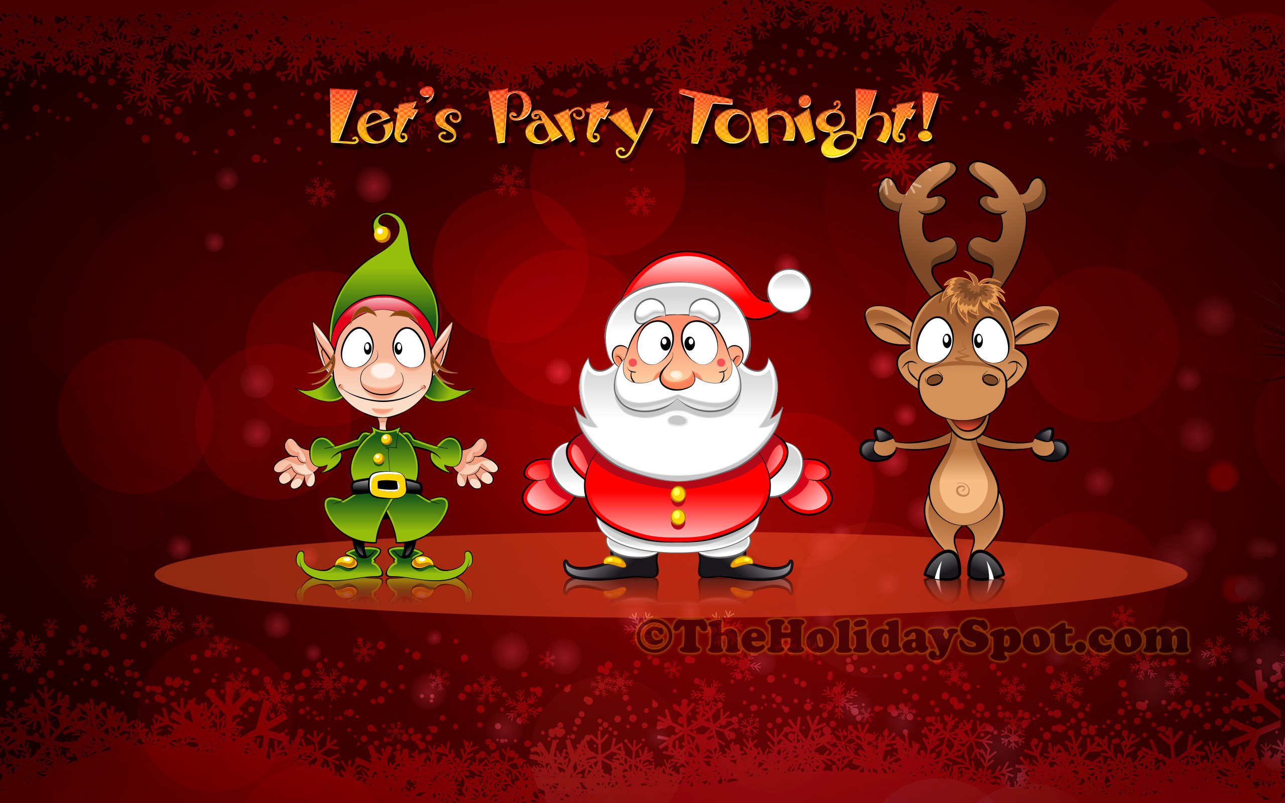 2560x1600 Christmas Wallpaper of Santa, Elve and Reindeer