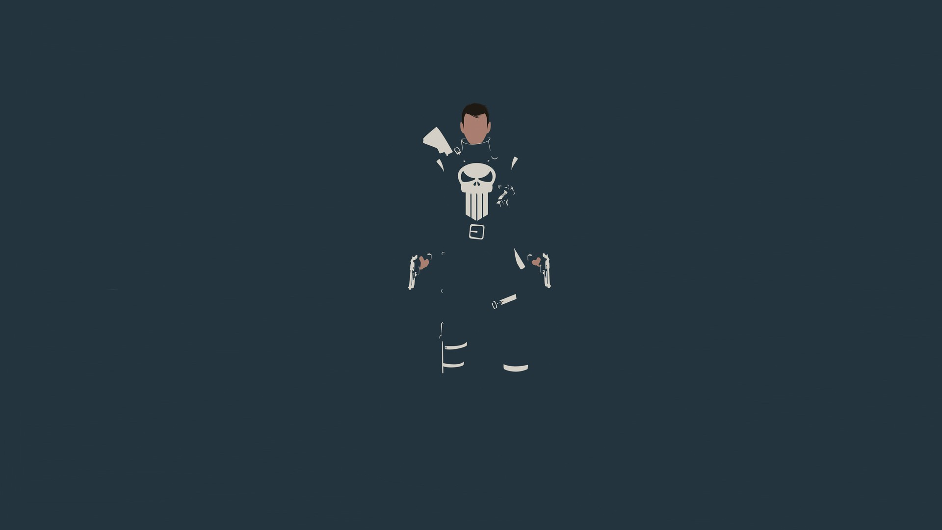 1920x1080 General  The Punisher minimalism Marvel Comics skull