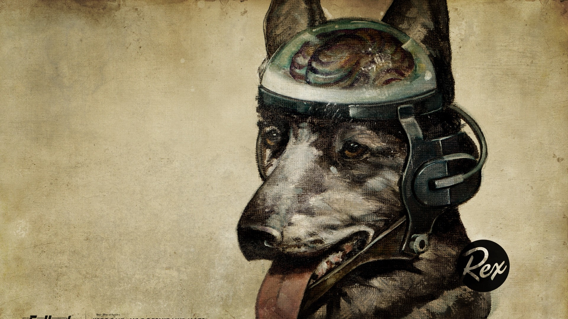 1920x1080  Wallpaper fallout, quote, dog, look