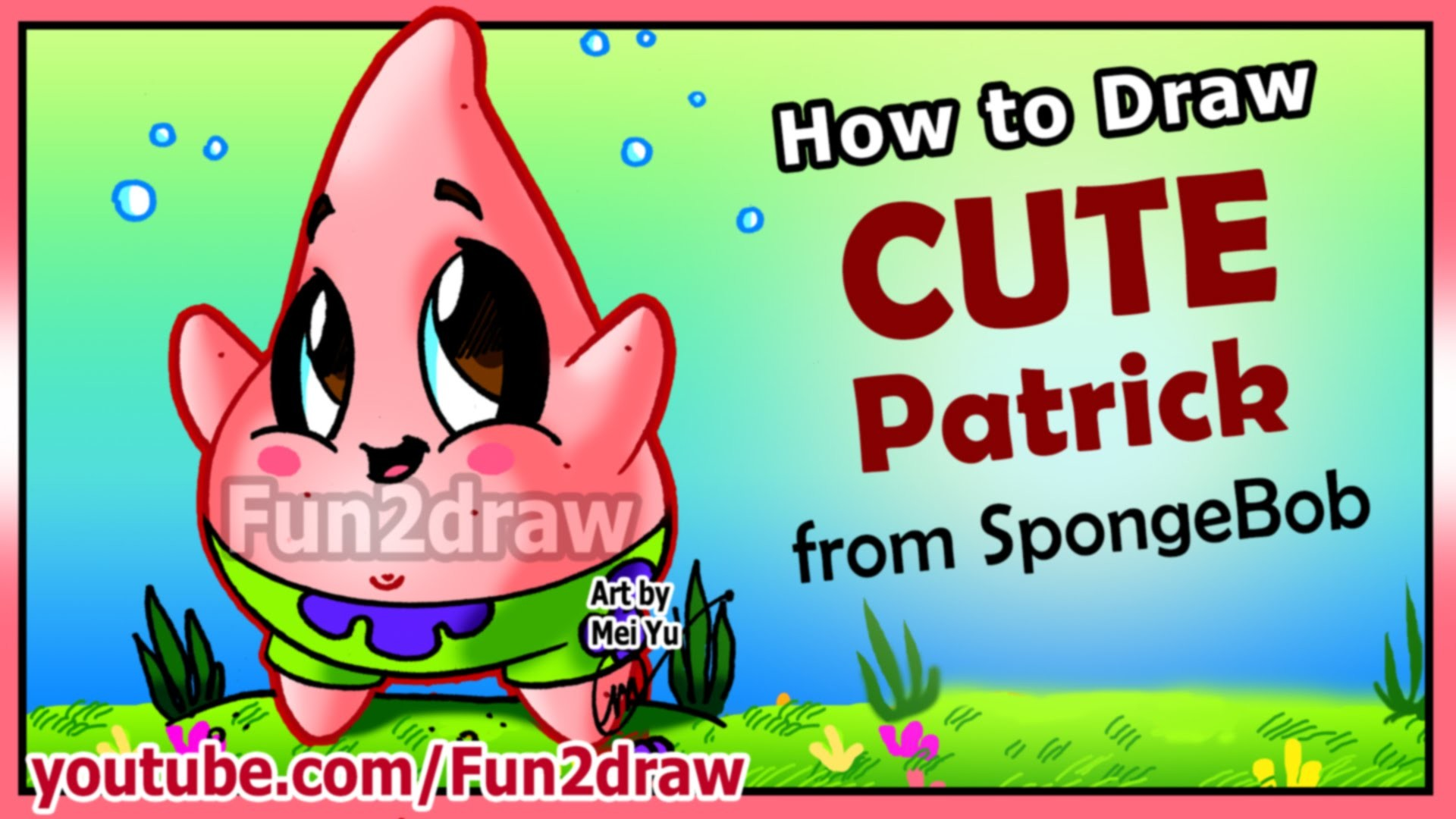 1920x1080 How to Draw Step by Step - CUTE Patrick Star + Funny EXTRA - Spongebob  Cartoons Fun2draw - YouTube