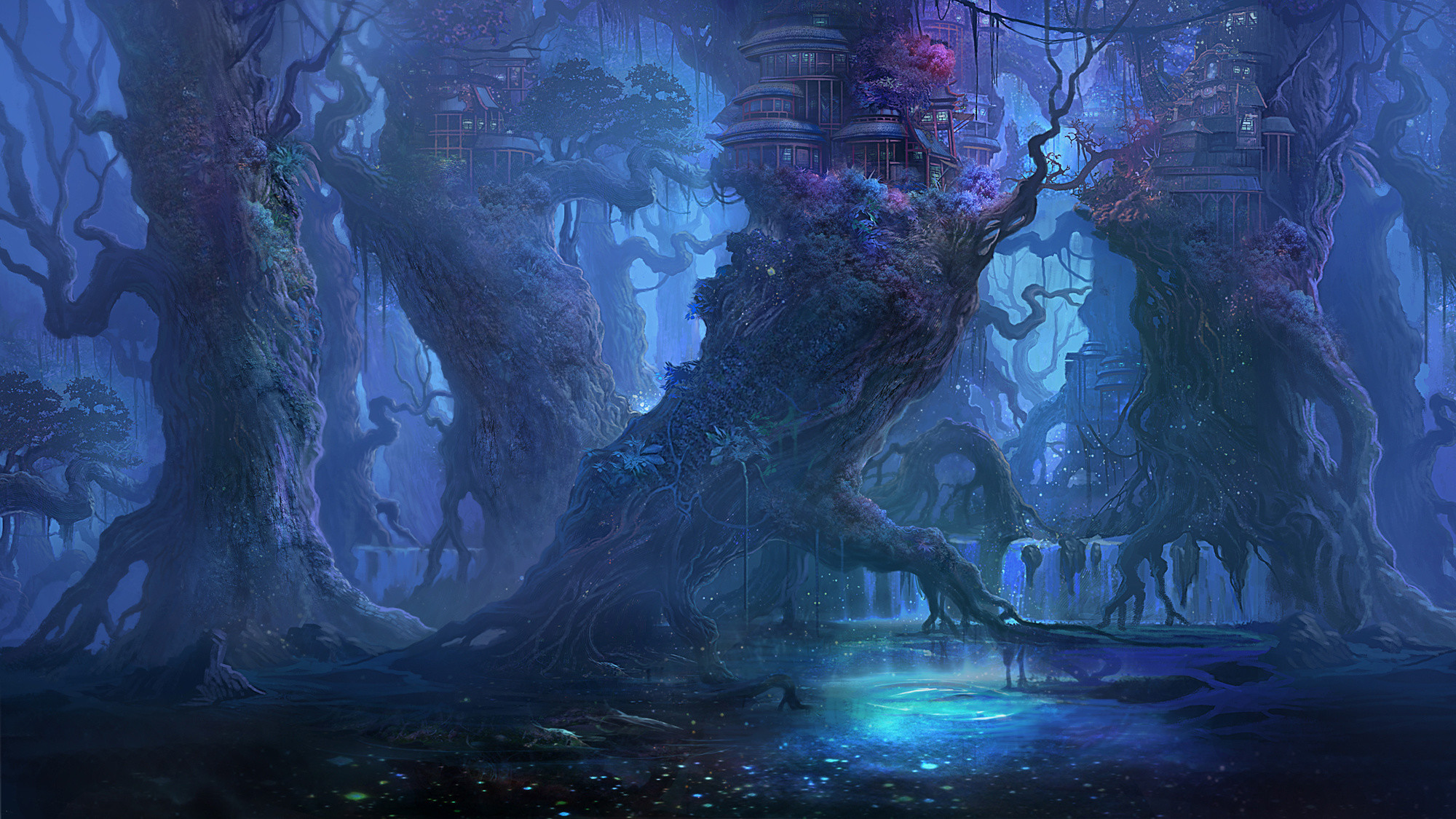 2000x1125 Fantasy Forest Landscape Desktop Wallpaper