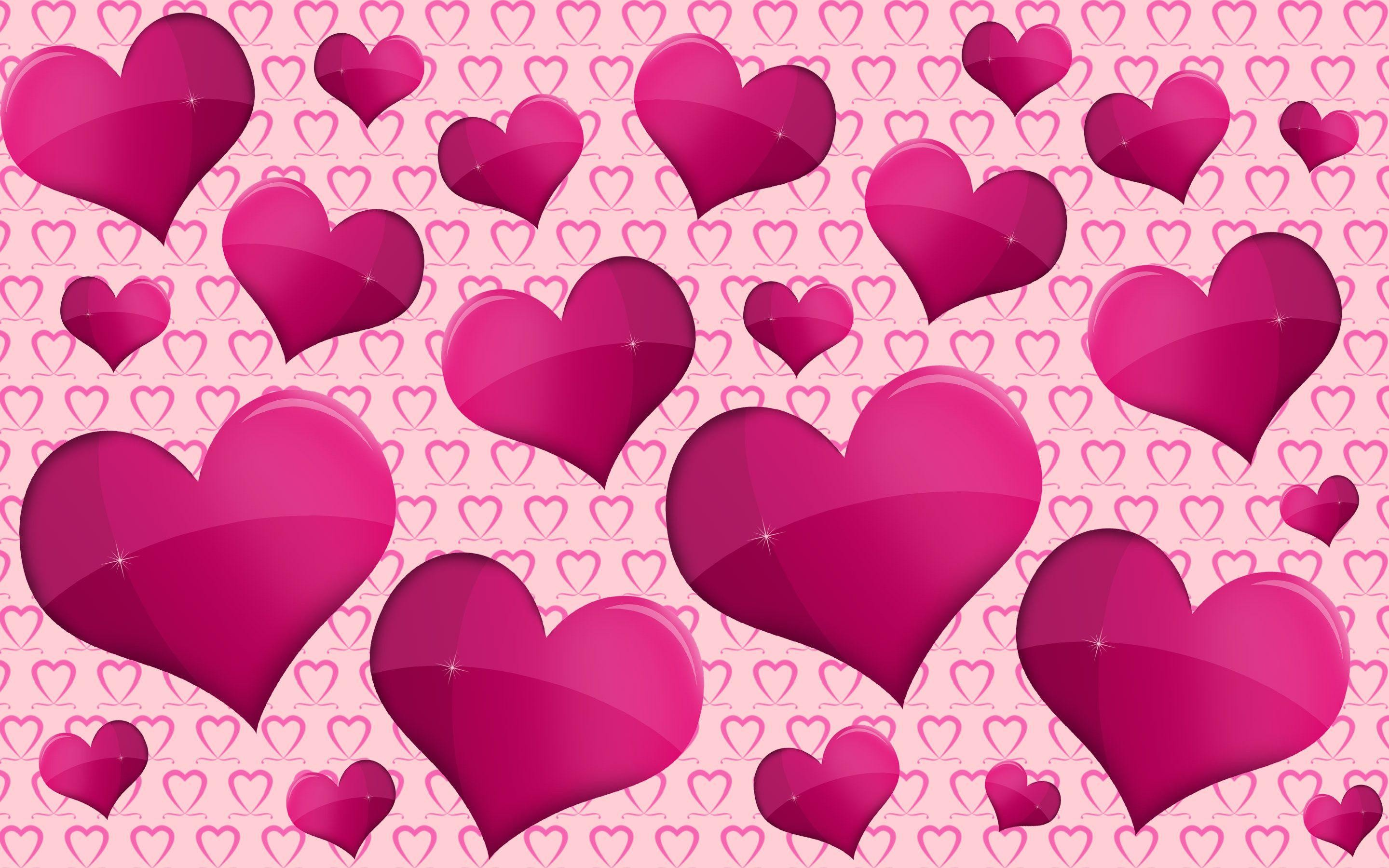 2880x1800 Purple hearts Wallpaper #