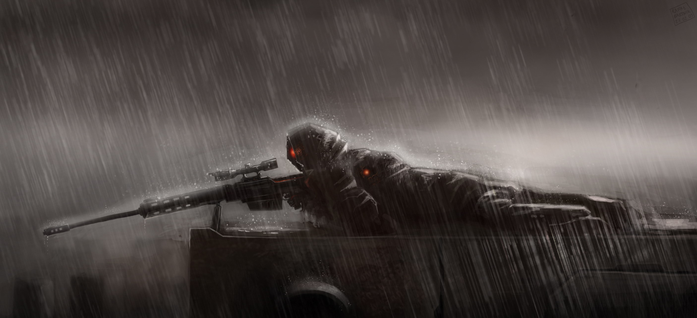 2812x1284 Sniper Rain Sniper Lies Position Rain Sniper Rifle Wallpaper At Dark  Wallpapers