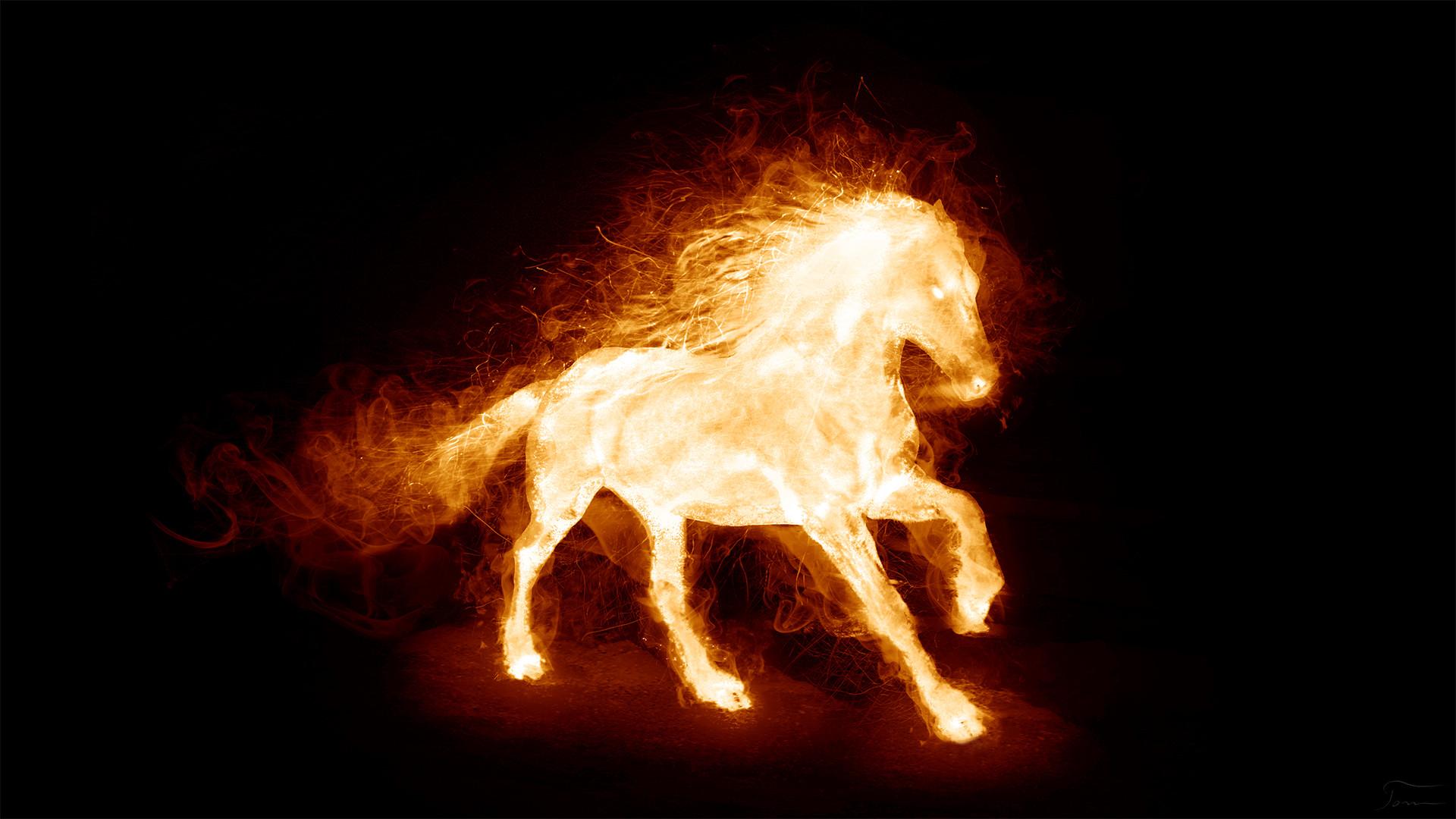 3840x2160 3840x2160 Wallpaper Horse, Jump, Light, Fire