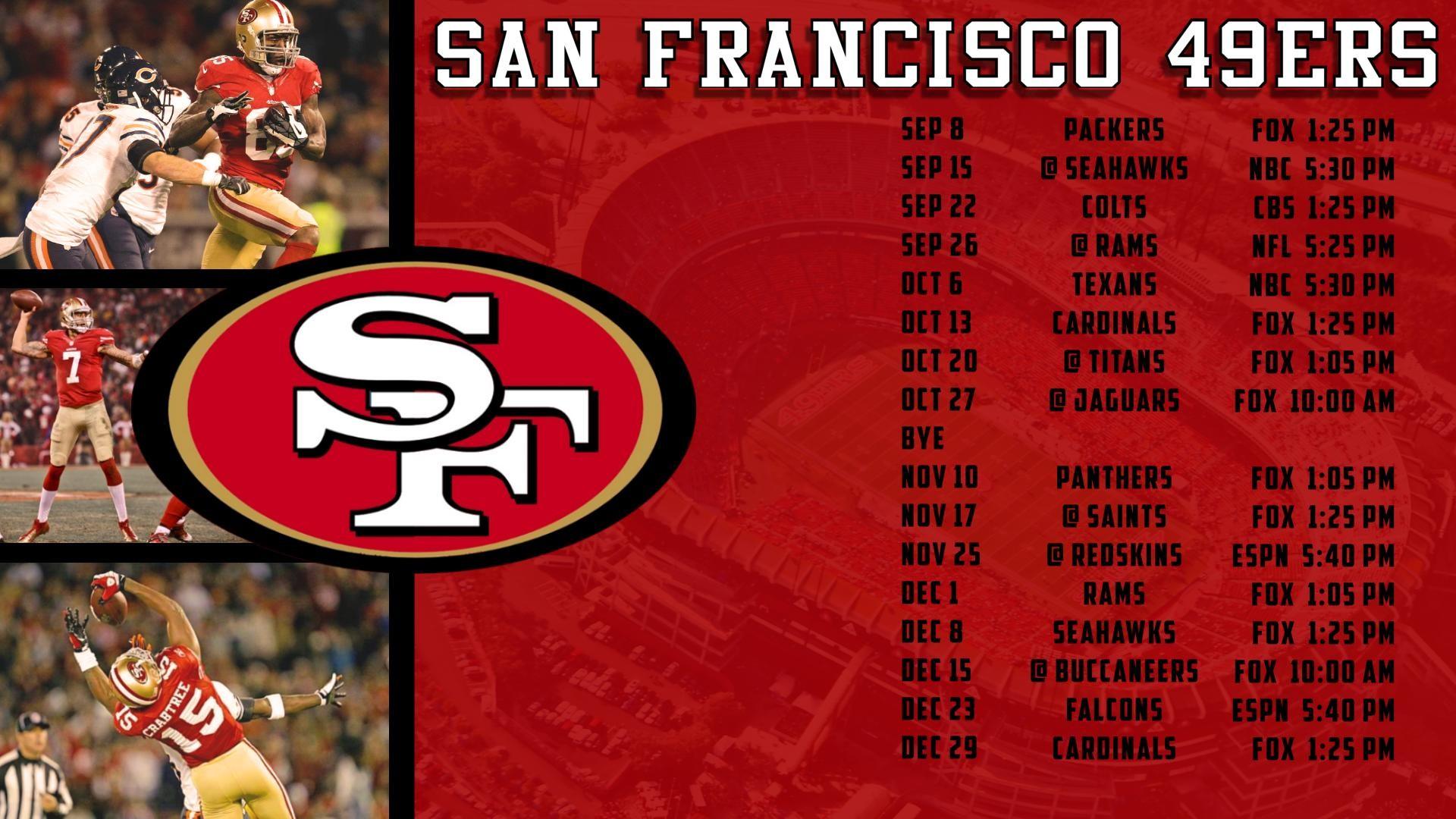 49ers 2018 schedule wallpaper 60 images - 2015 49ers schedule wallpaper ...