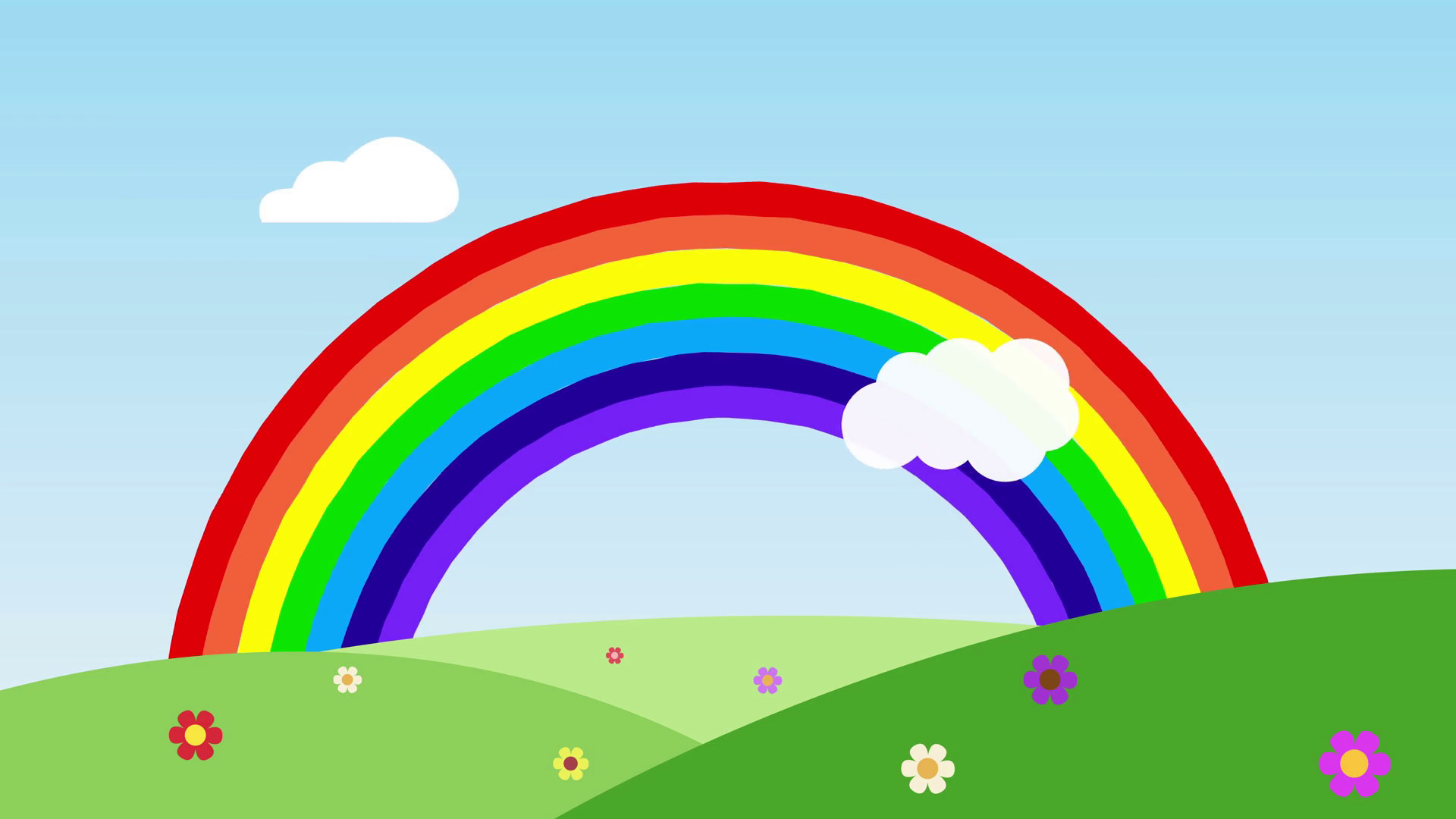 1920x1080 ... rainbow with some clouds over the flowers hills with space for your  text or logo. nature and rainbow seamless loop. Rainbow Background for  children full ...