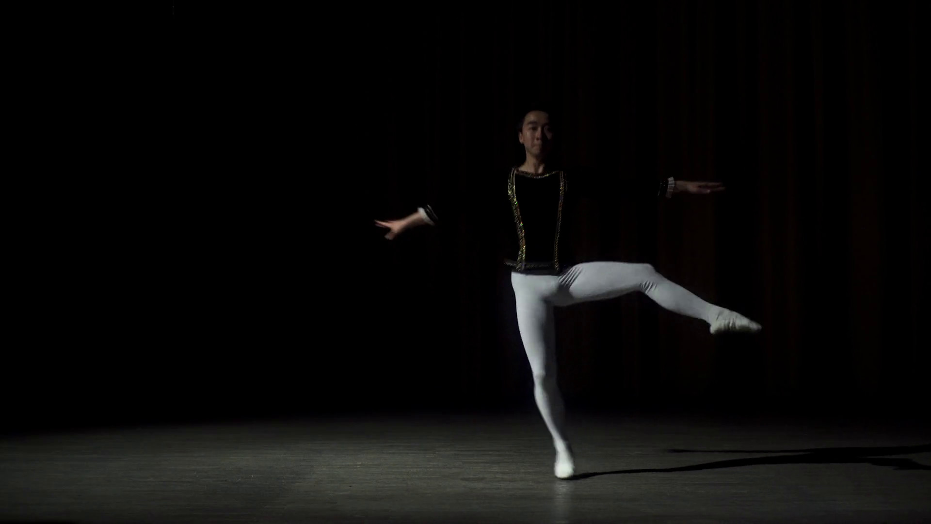 1920x1080 Young male ballet dancer in studio on black background Stock Video Footage  - Storyblocks Video