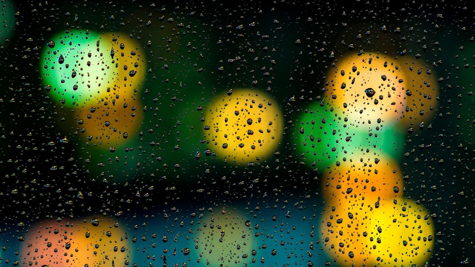 1920x1080 Raindrops on the window with bokeh lights wallpaper