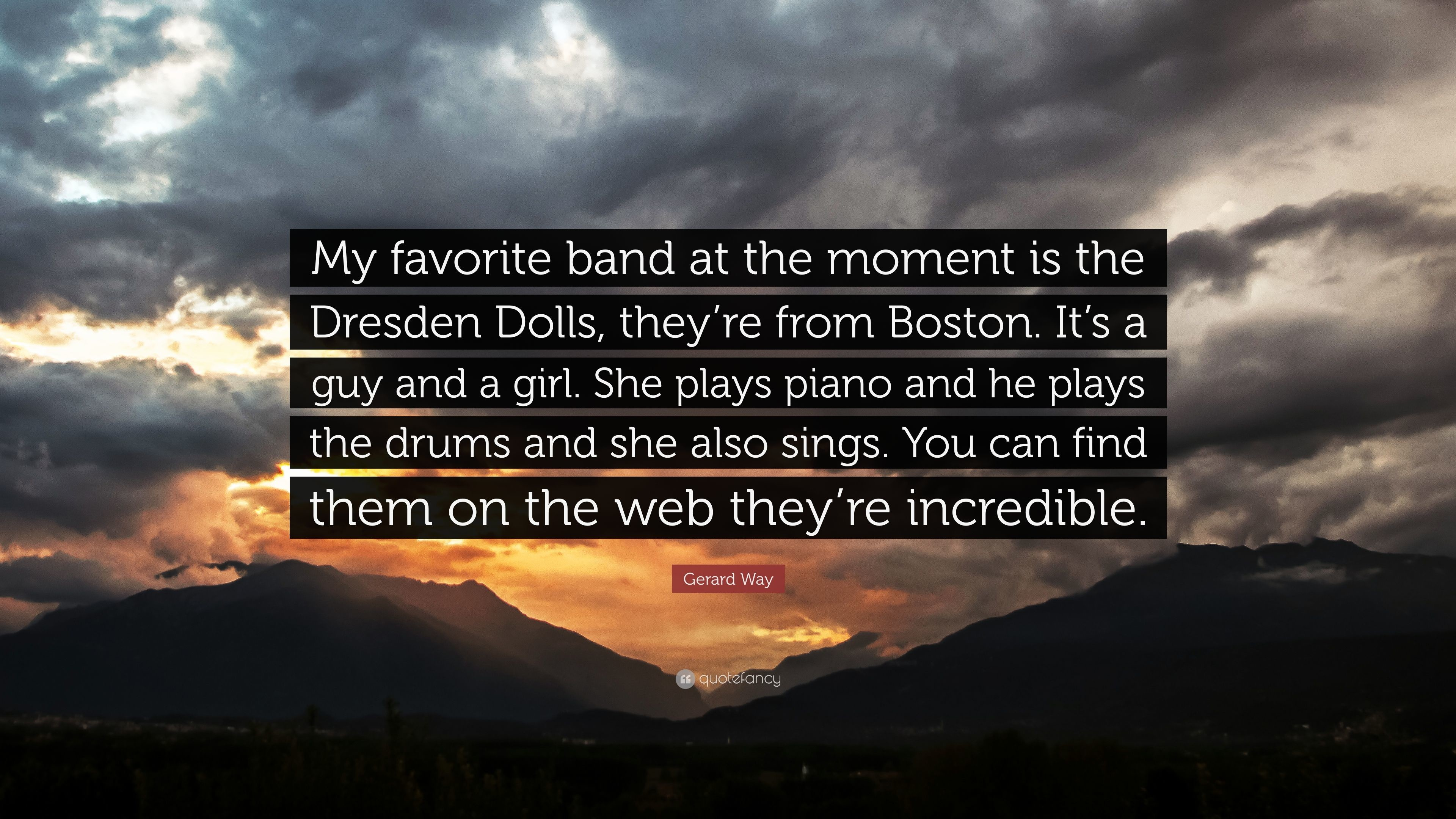 "3840x2160 Gerard Way Quote: ""My favorite band at the moment is the Dresden Dolls,"