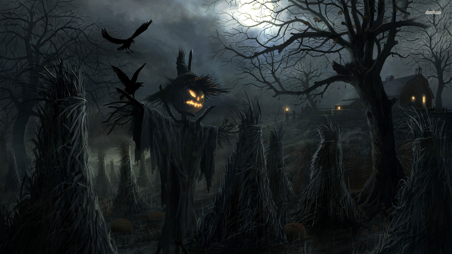 1920x1080 1920x1200 Creepy crows halloween moon radojavor scarecrow scary widescreen  desktop mobile iphone android hd wallpaper and desktop.