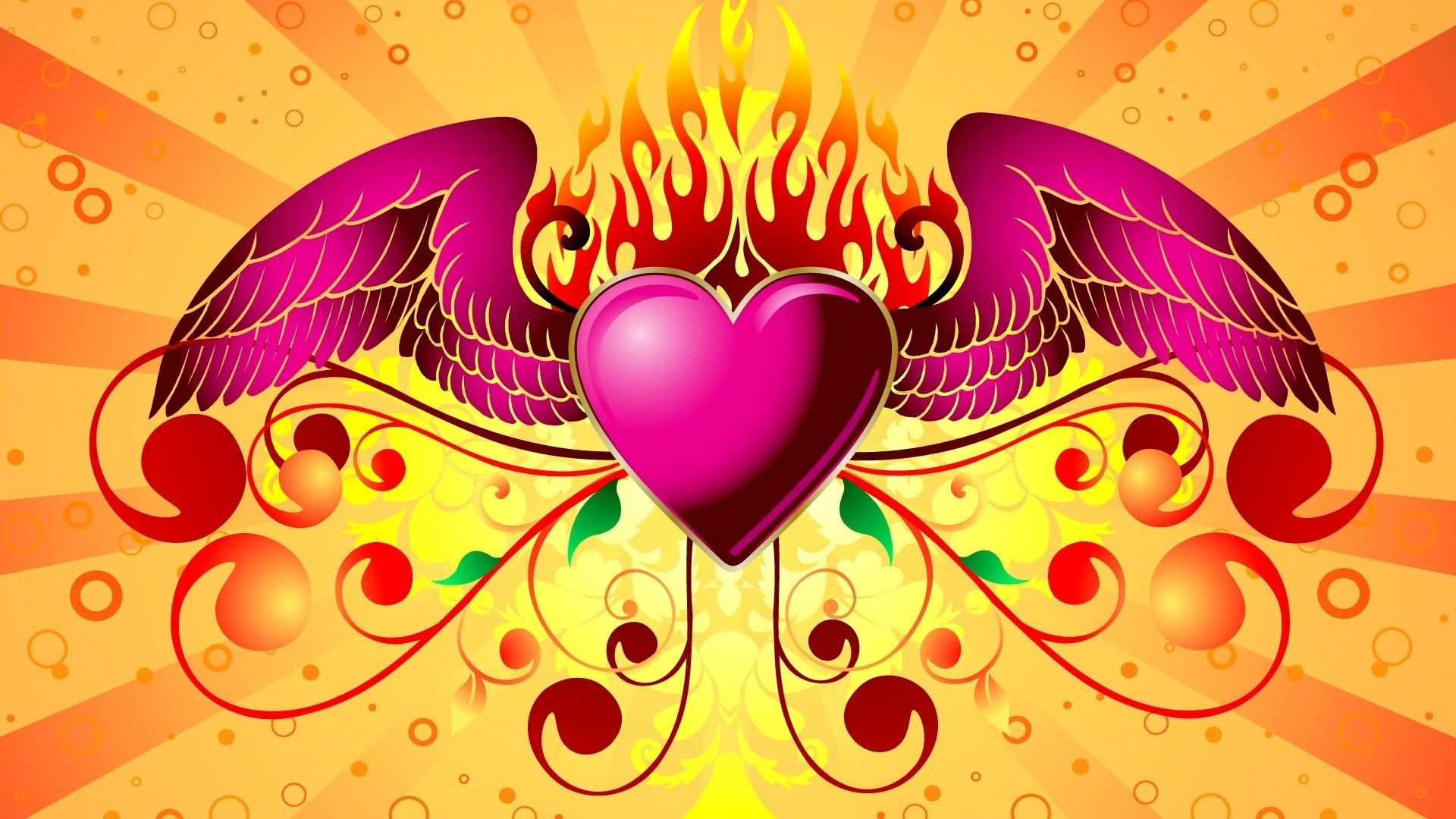 1920x1080 Pink Heart with Wings with Fire Design HD Images | HD Wallpapers .