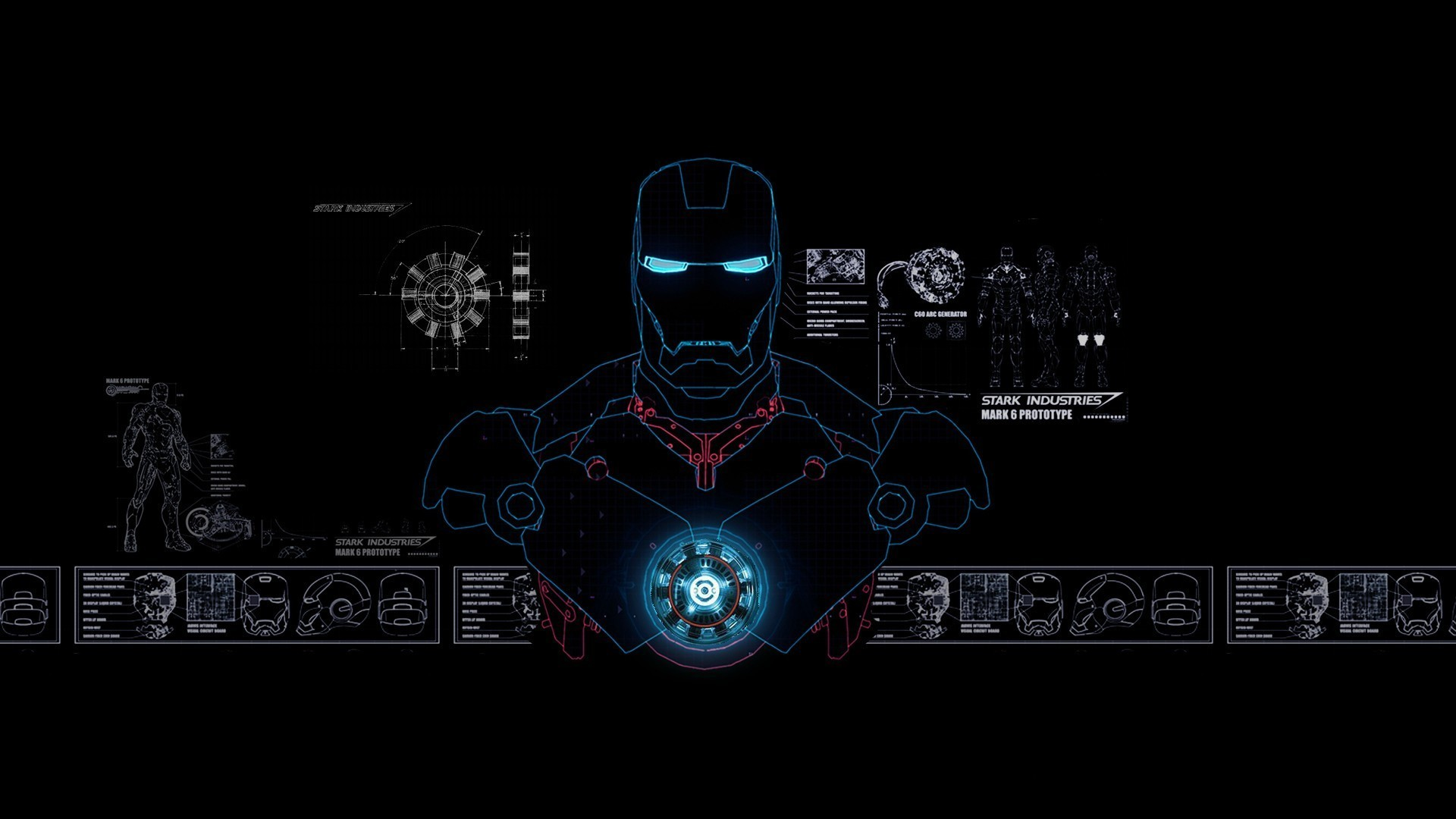 1920x1080 Iron Man Stark Industries Blue-Print - Wallpaper (#821228 .