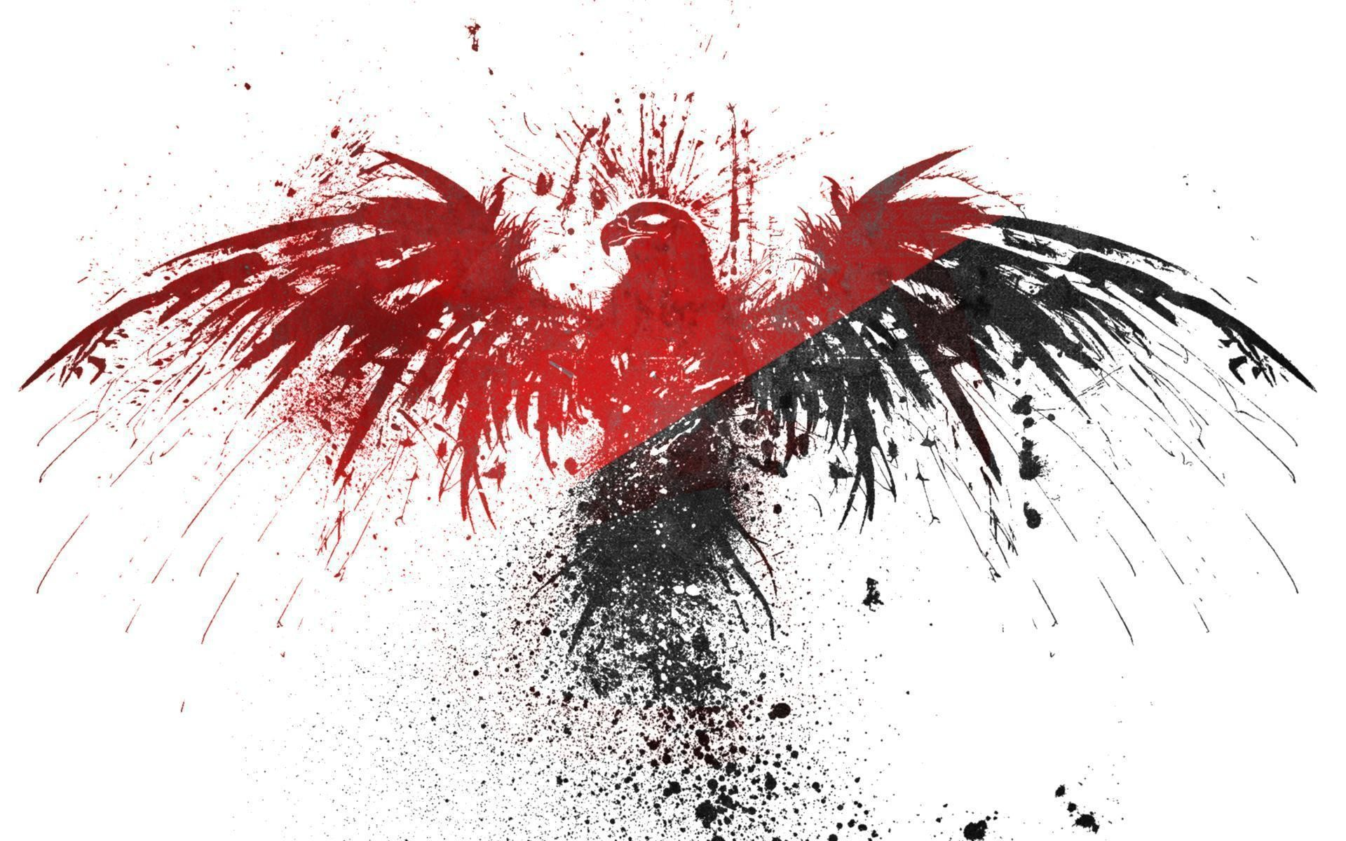 1920x1200 black red white eagles anarchy wallpapers - Red White Wallpaper