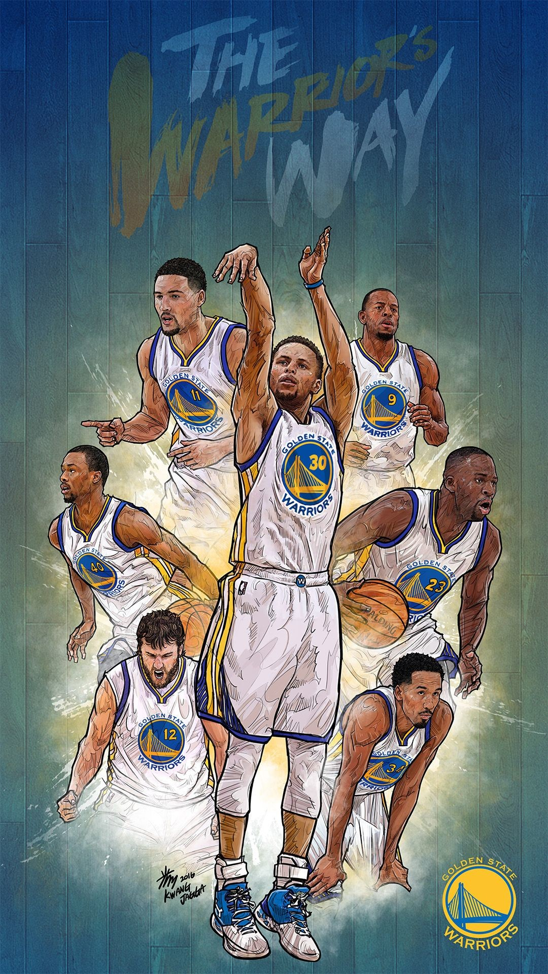 1080x1920 NBA Phone Wallpaper - Artist: Kim MinSuk (김민석) #Yellowmenace #basketballart  #GSW…