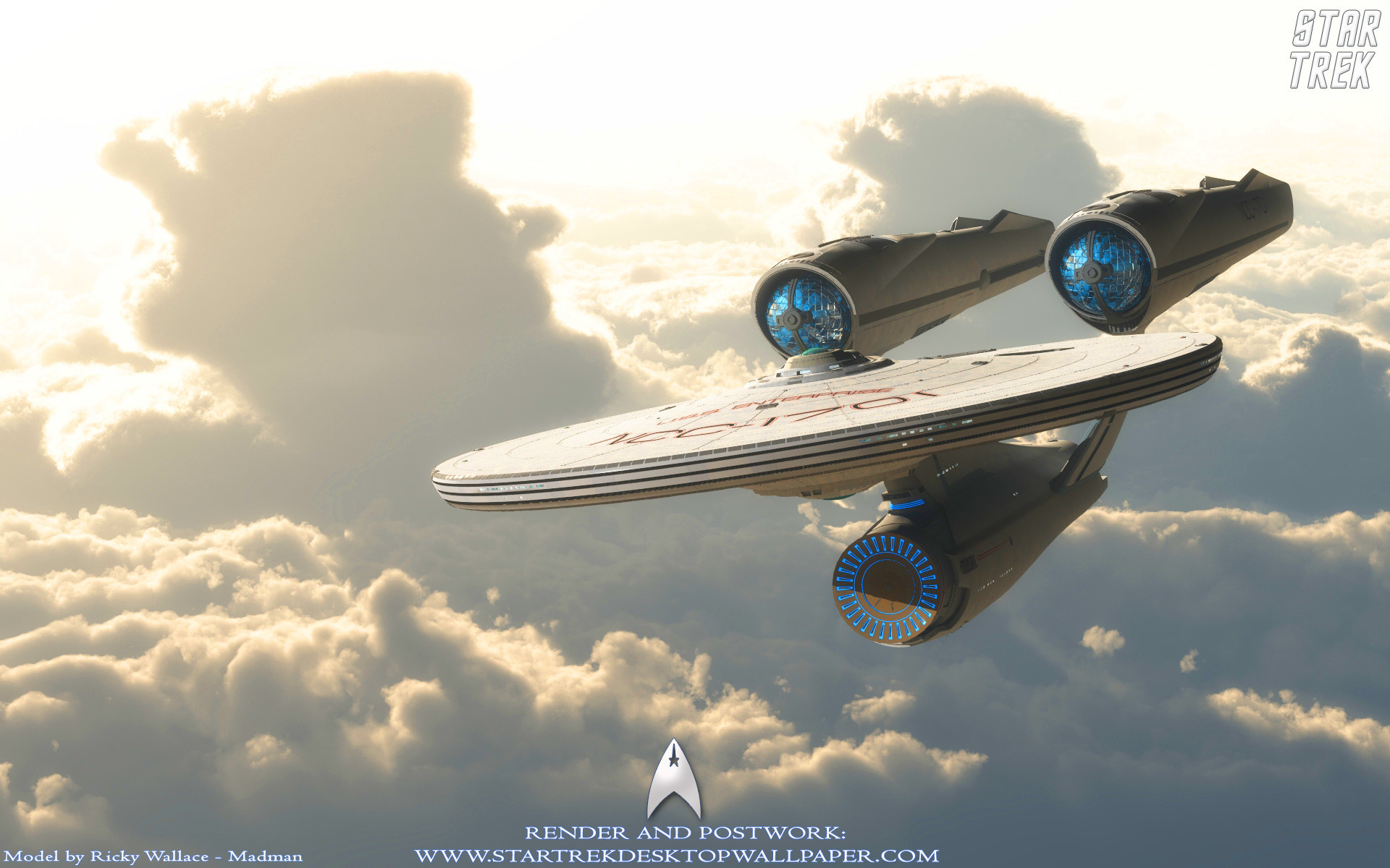 1920x1200  Star Trek USS Enterprise NCC1701 On Clouds. Free Star Trek  computer desktop wallpaper, images