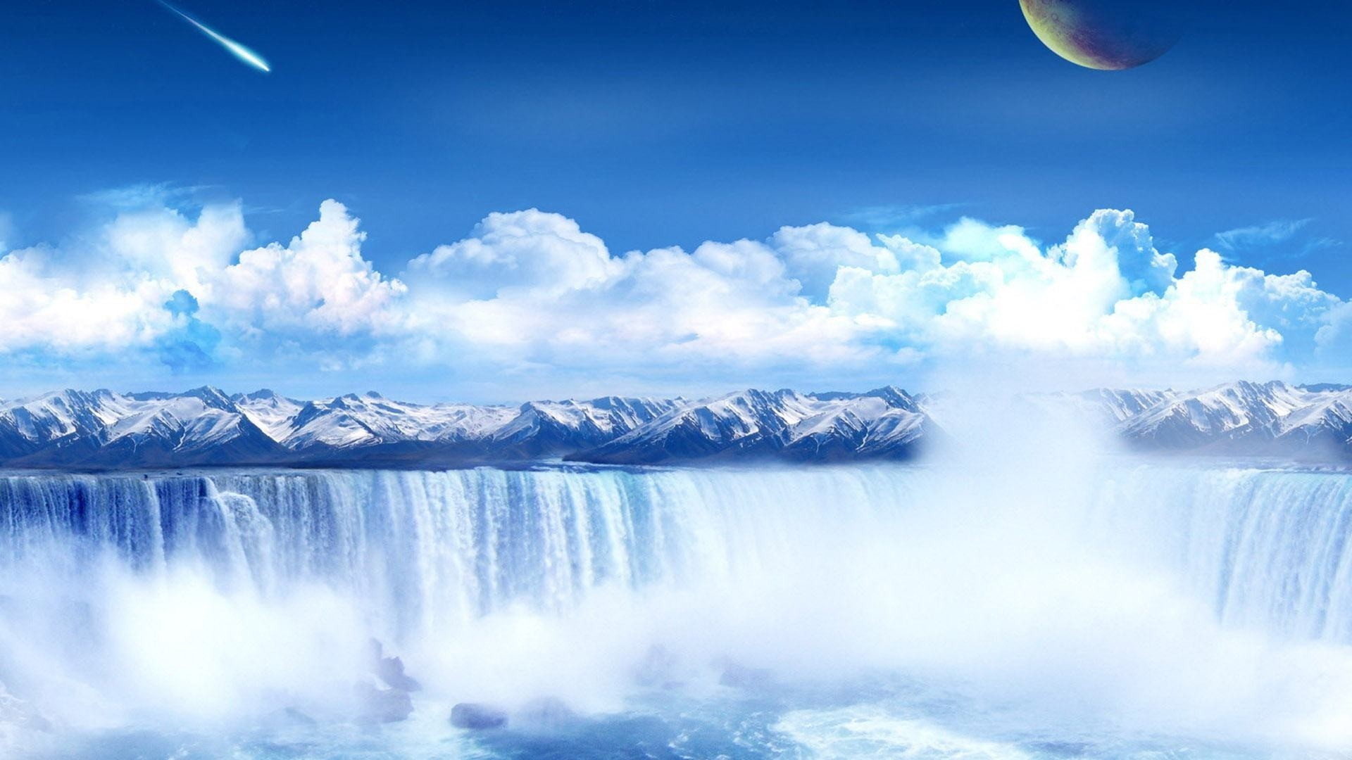 1920x1080  Wallpapers Backgrounds - wallpapers part fantasy space waterfall  desktop background screensaver