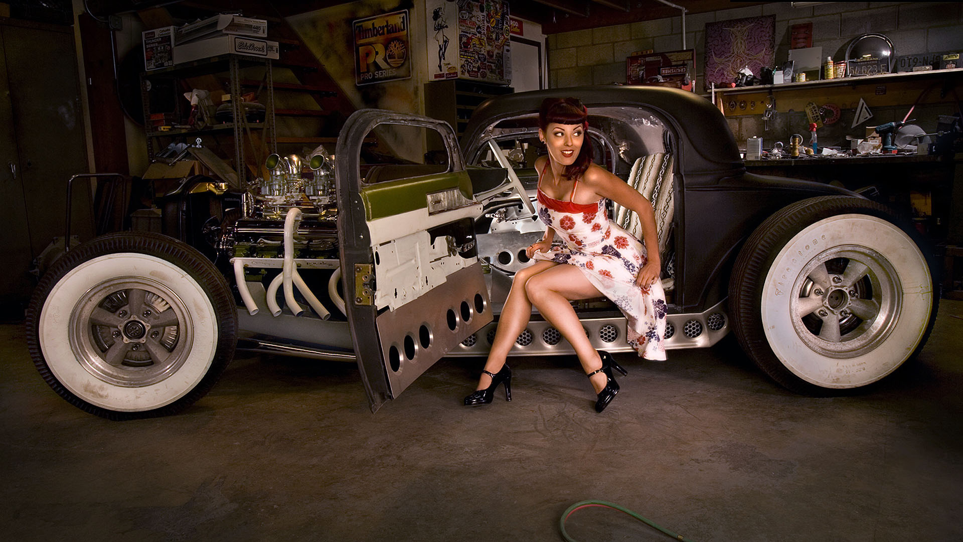 1920x1080 Pin-up girl in Hot Rod HD Wallpaper
