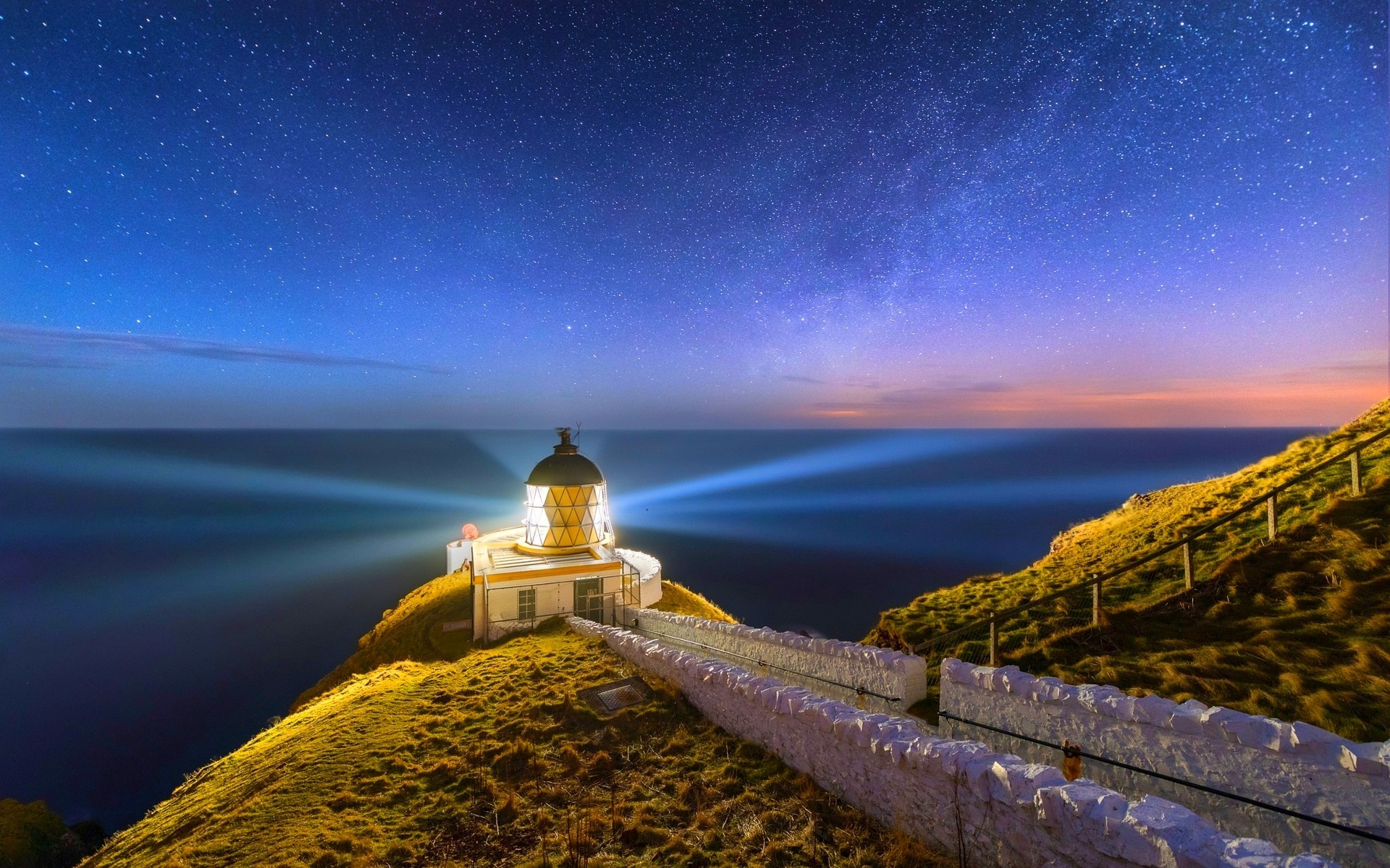 1920x1200 nature, Landscape, Lighthouse, Scotland, Starry Night, Sea, Long Exposure,