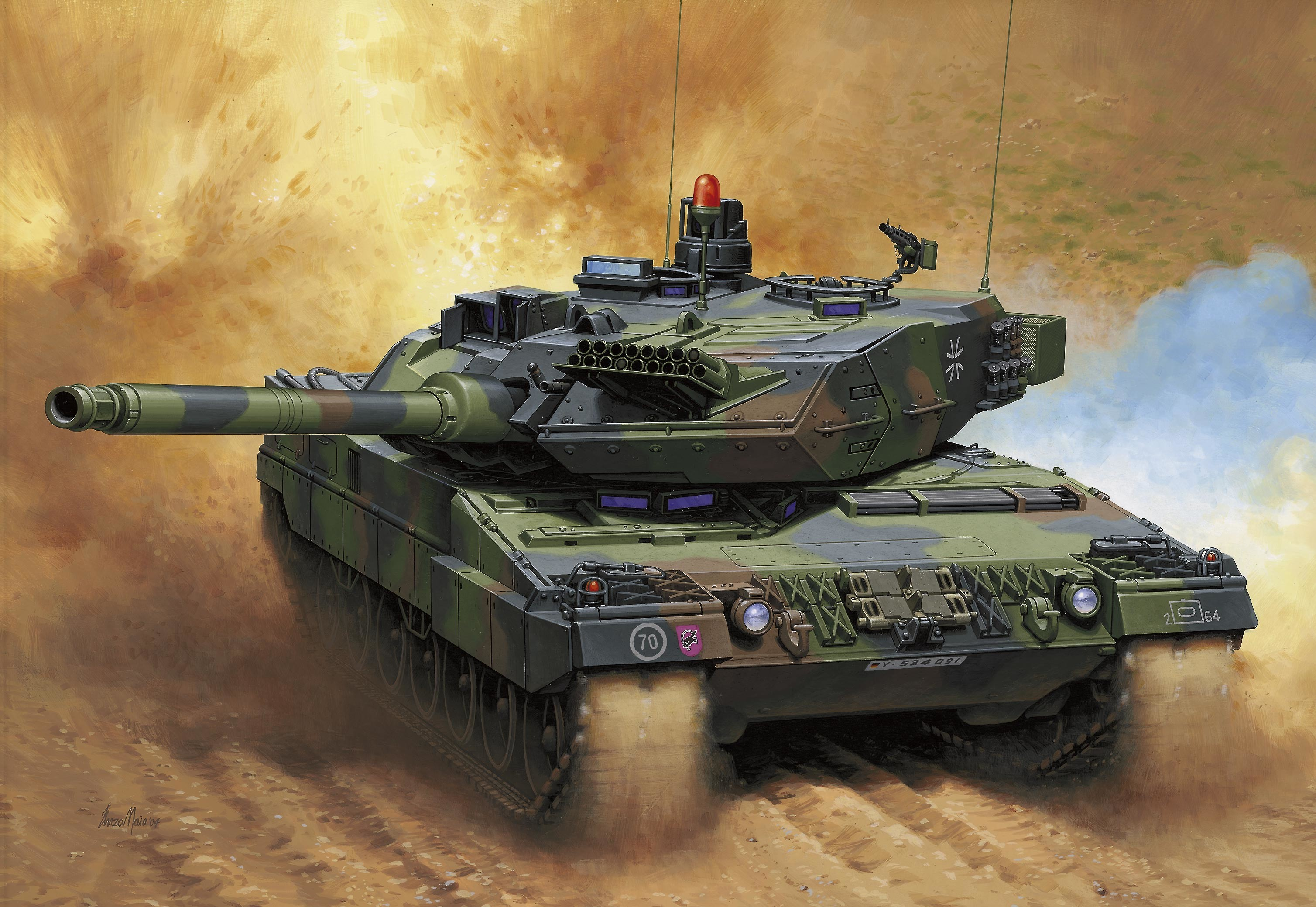 3016x2079 Pictures Army Tanks Tank Leopard 2A Painting Art Leopard 2