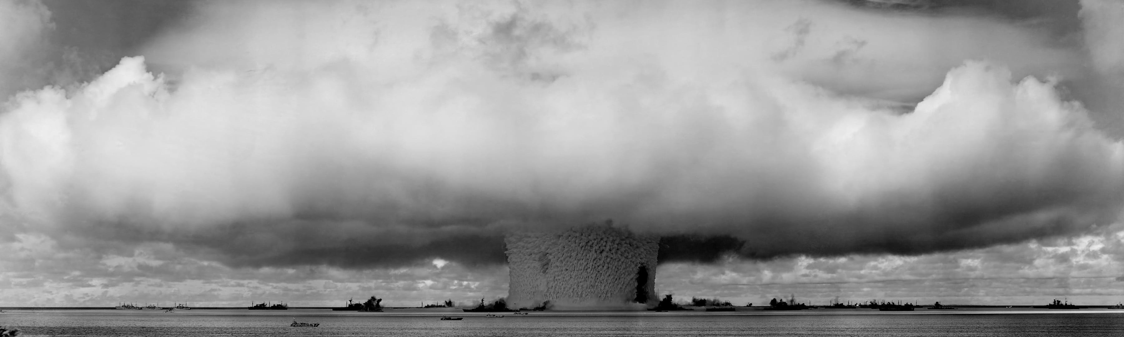 3600x1080 mushroom cloud, atomic bomb, monochrome HD wallpaper