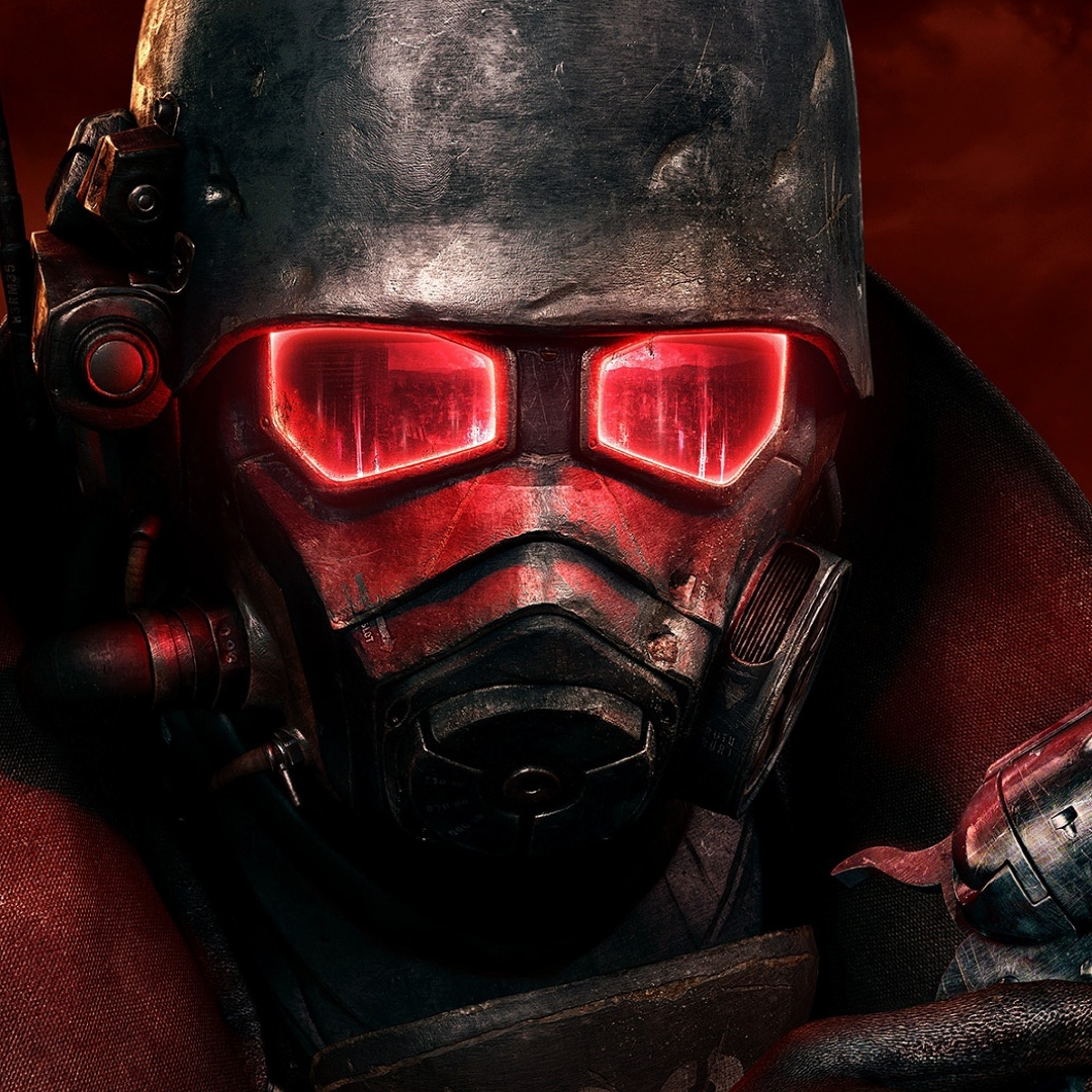 2048x2048 Preview wallpaper fallout, soldier, mask, pistol, helmet