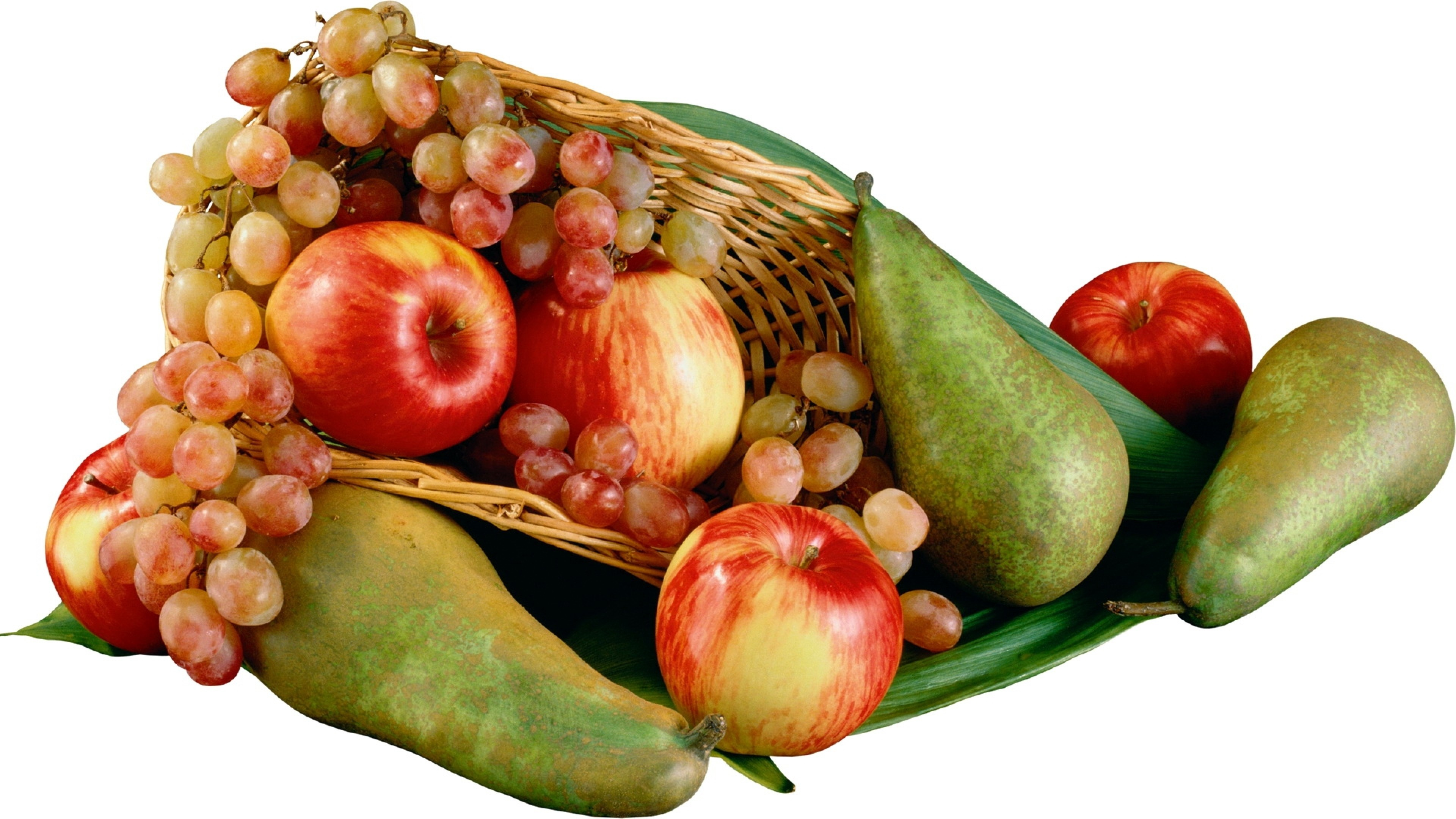 3840x2160  Wallpaper pears, apples, grapes, fruit, basket