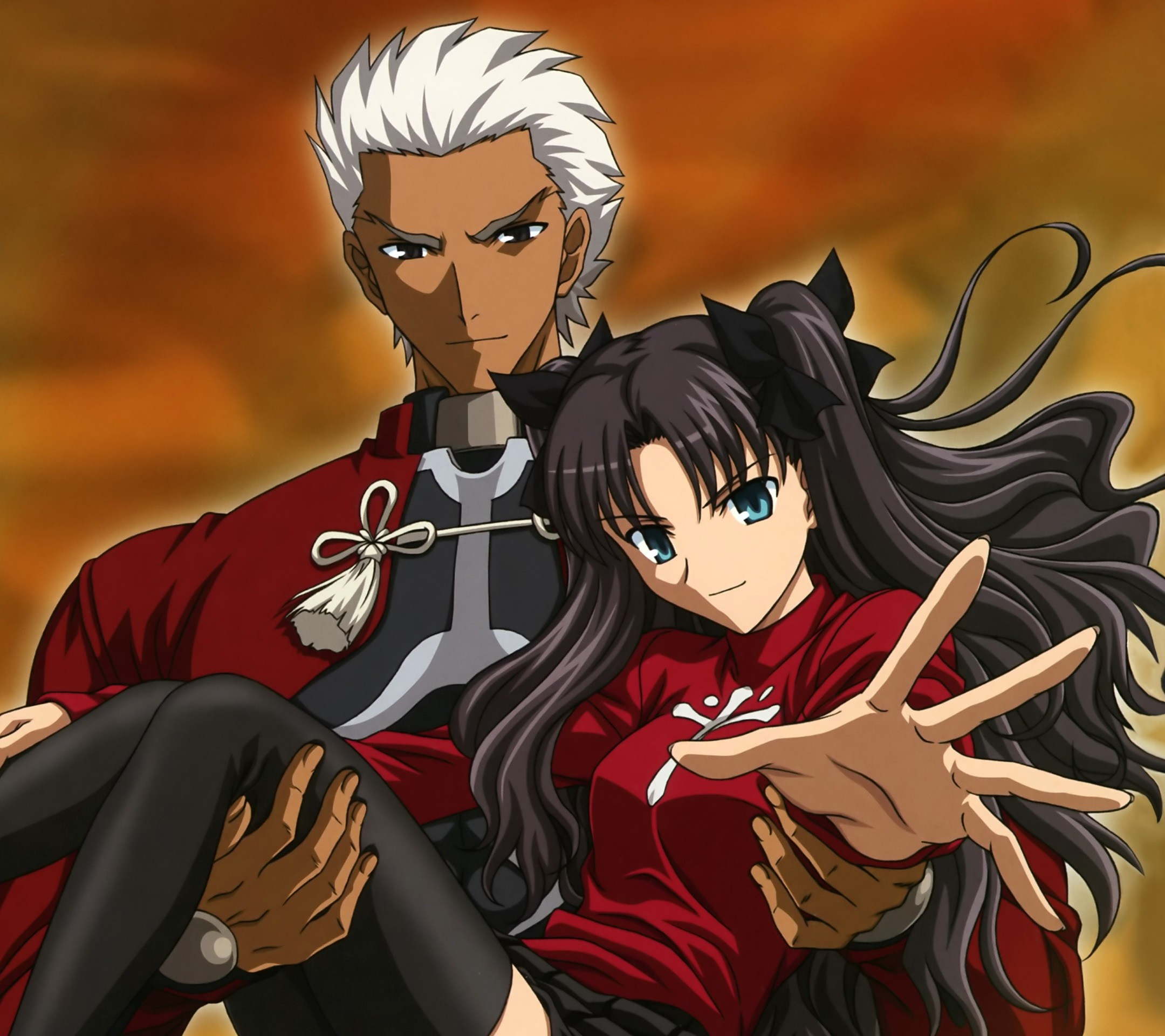 2160x1920 Fate Stay Night Unlimited Blade Works Rin Tohsaka Archer.Android wallpaper