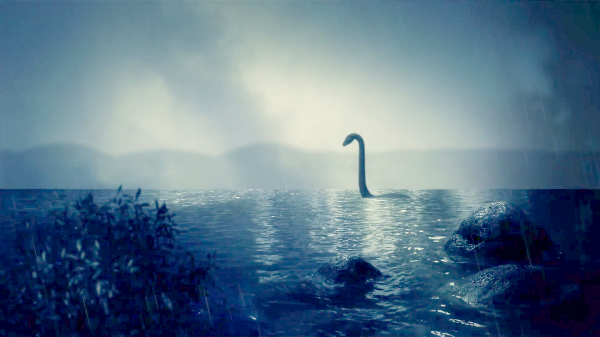 1920x1080 The Loch Ness Monster Swimming in the Lake Under a Storm Stock Video  Footage - VideoBlocks