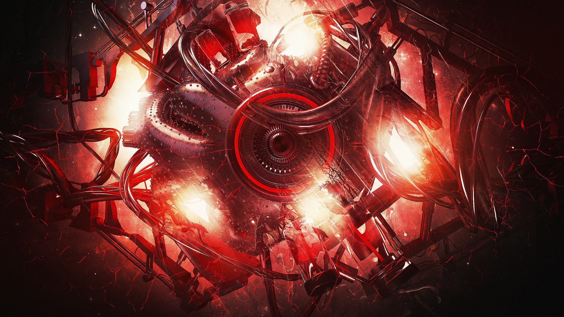 1920x1080 #Lacza #DigitalArt #Abstract #Sphere #Glowing #Red #Machine #Pipes