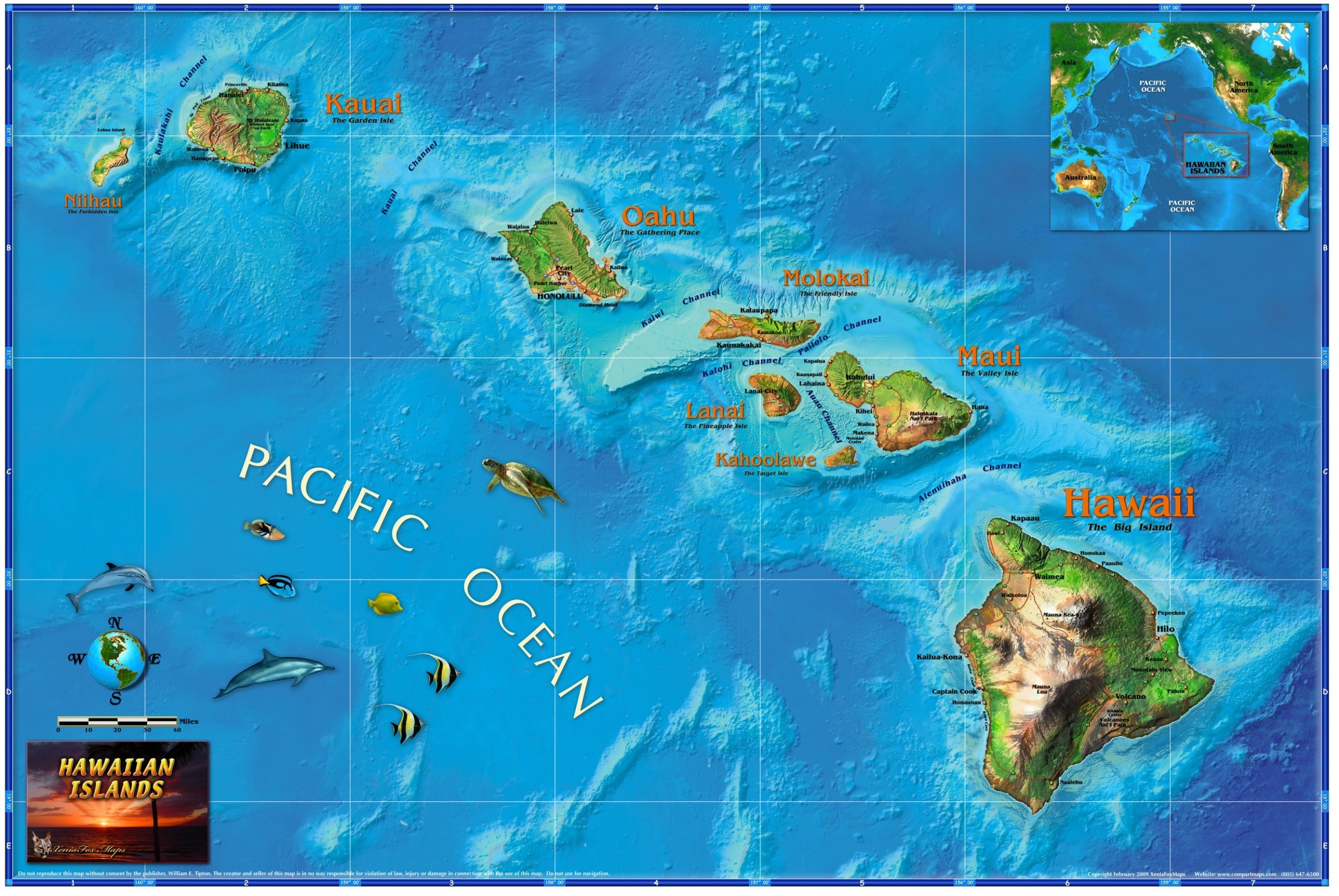 Wallpaper Maps Of Usa Images - Hawaii islands map usa