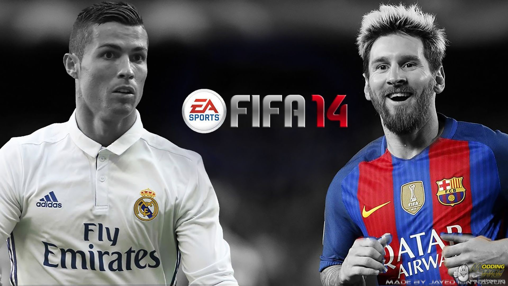 1920x1080 FIFA 14 / Graphic Mods / New Black,White And Colourful Stylish Messi vs  Ronaldo Splash For FIFA 14 - FIFA 14