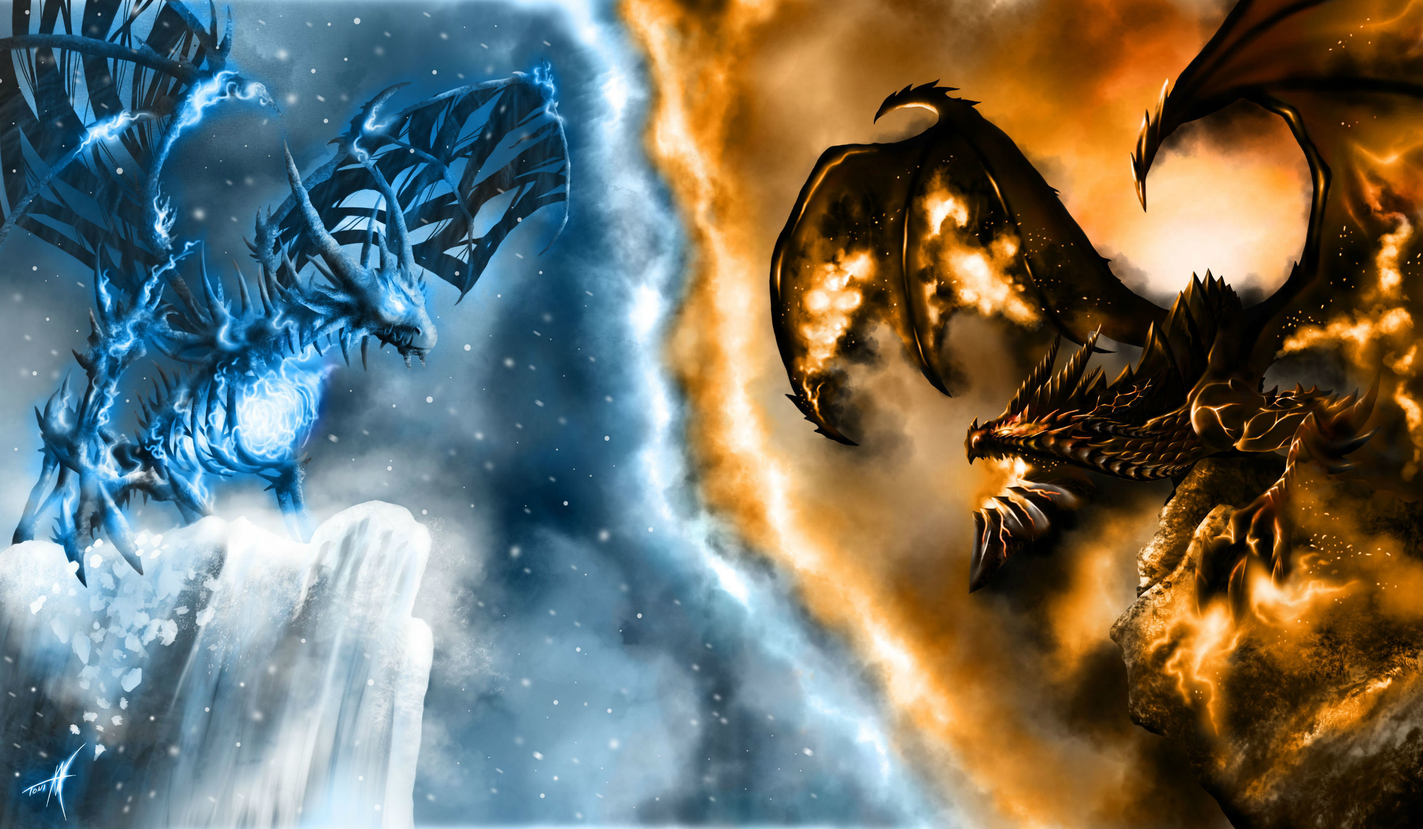 2828x1647 Ice Dragon Desktop Wallpaper.