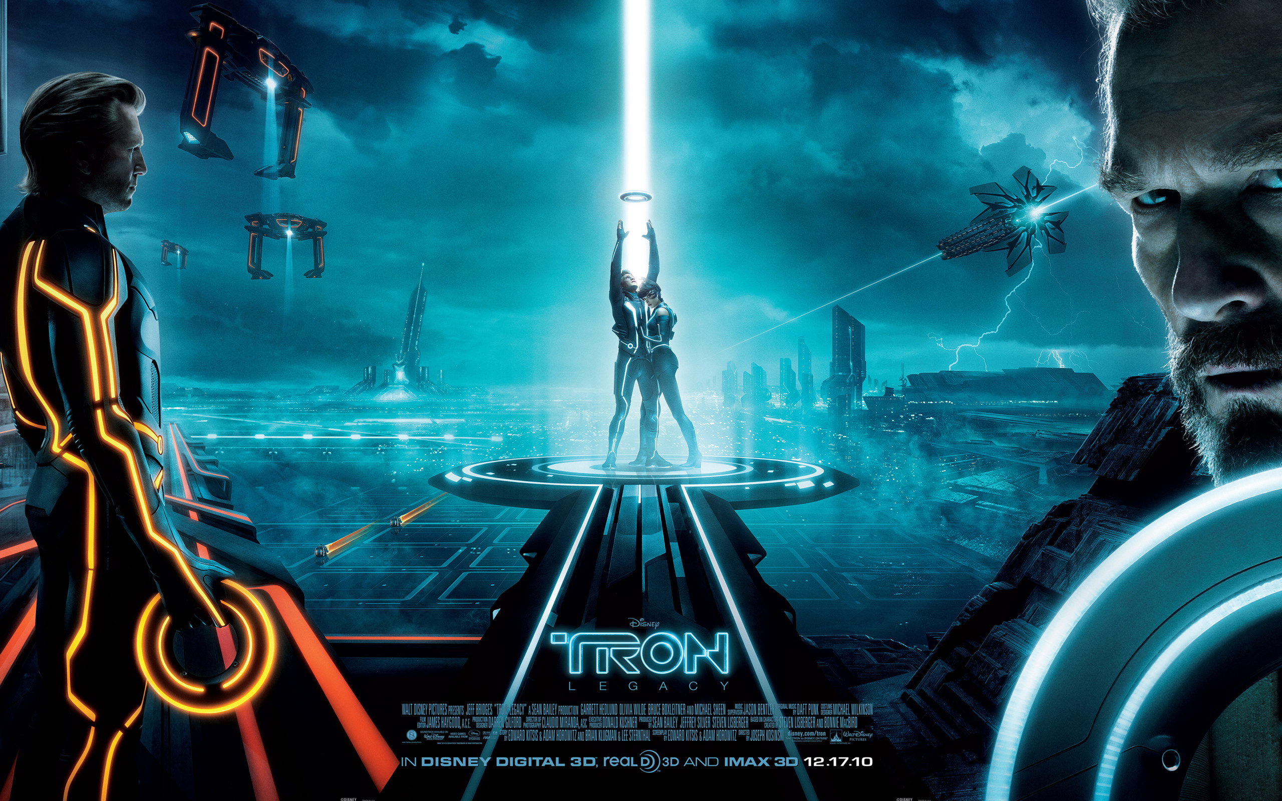 2560x1600 Wallpaper picture of the main characters from Disney's Tron: Legacy movie:  Clu, Sam Flynn, Quorra and Kevin Flynn. See all Tron: