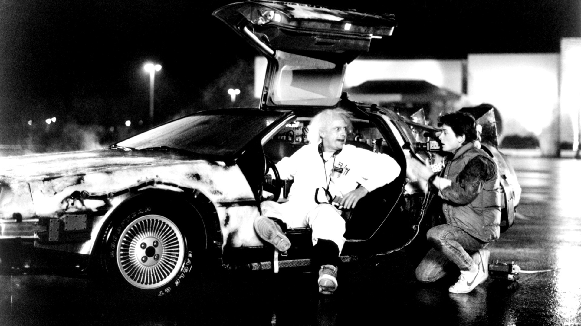 1920x1080 black and white delorean back to the future time machine doc brown michael  j fox marty