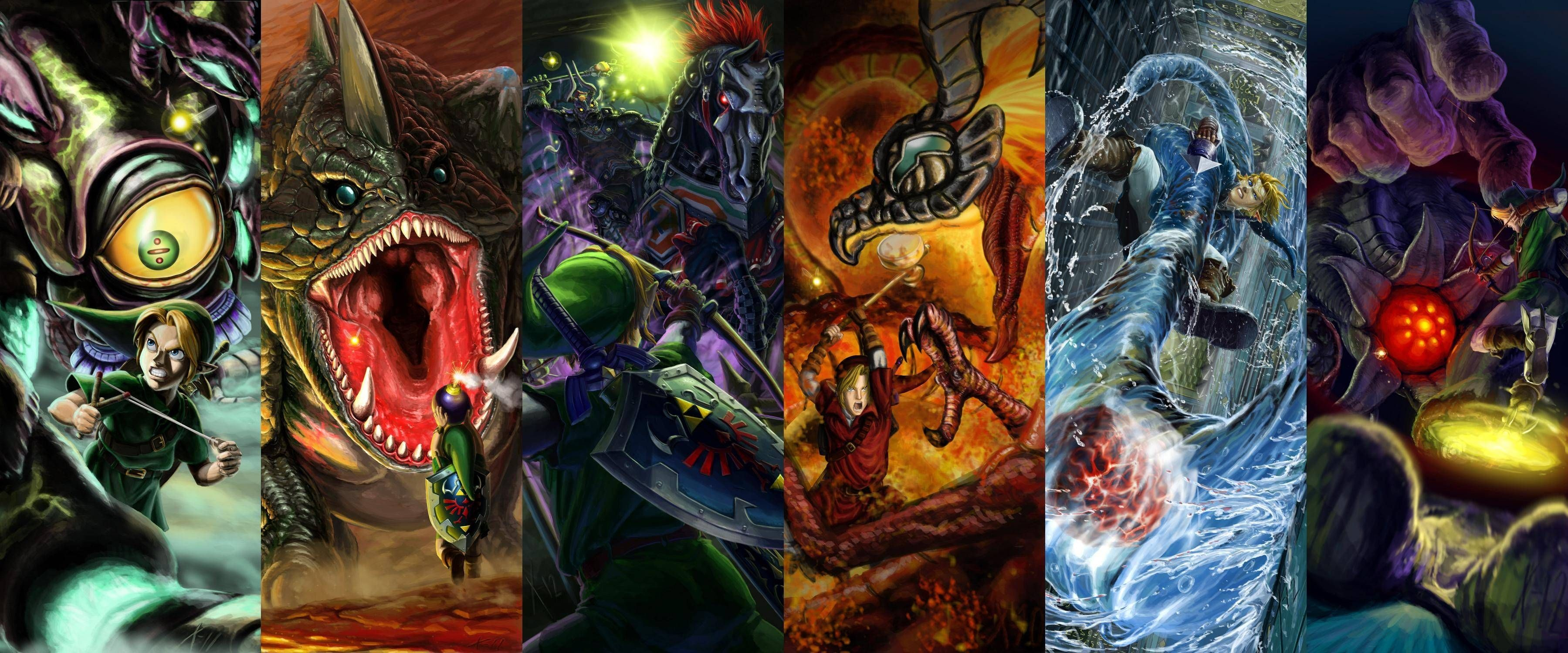 3599x1500 Legend of Zelda Wallpaper Showcases Epic Ocarina of Time Battles