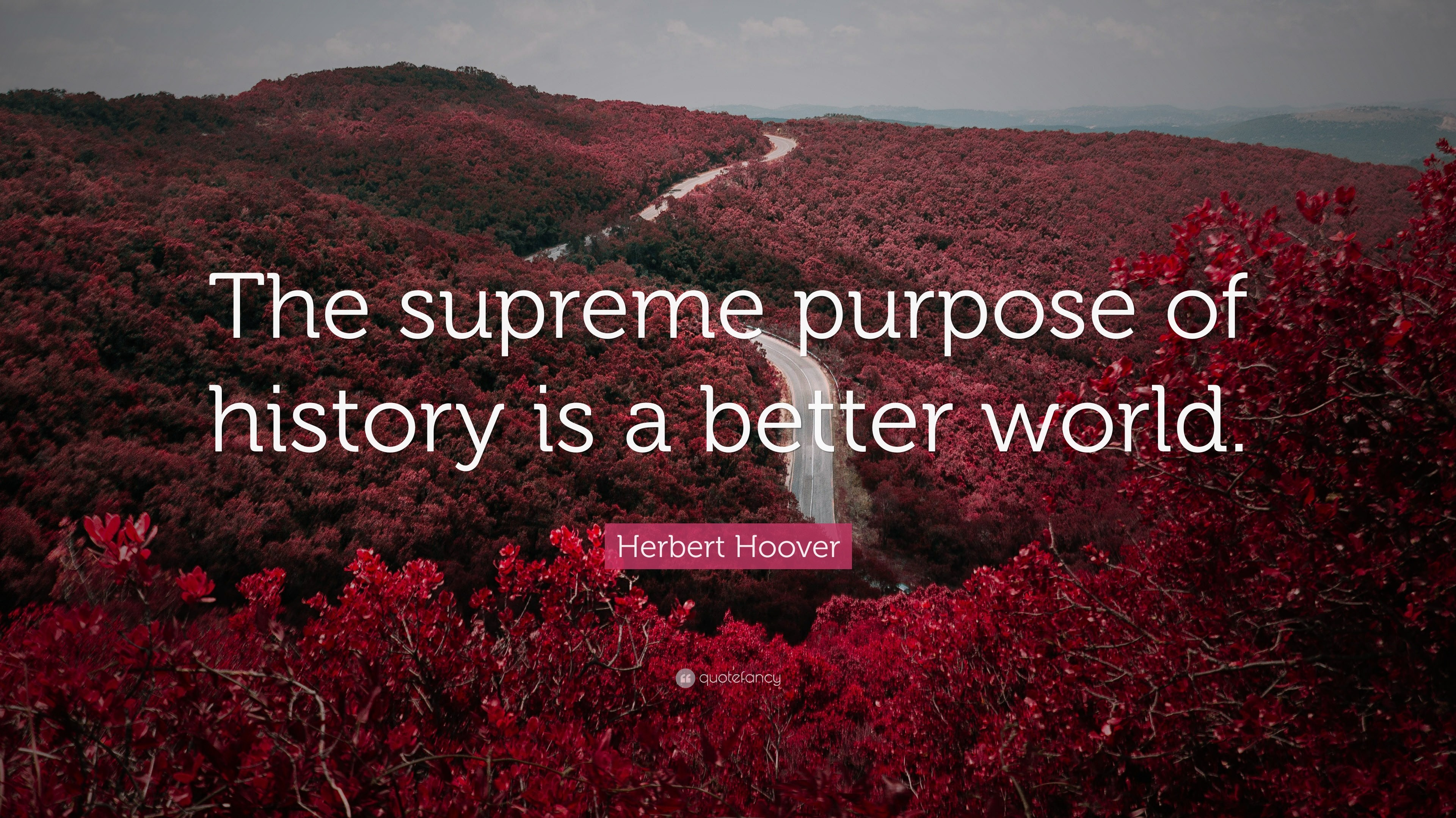 "3840x2160 Herbert Hoover Quote: ""The supreme purpose of history is a better world."""