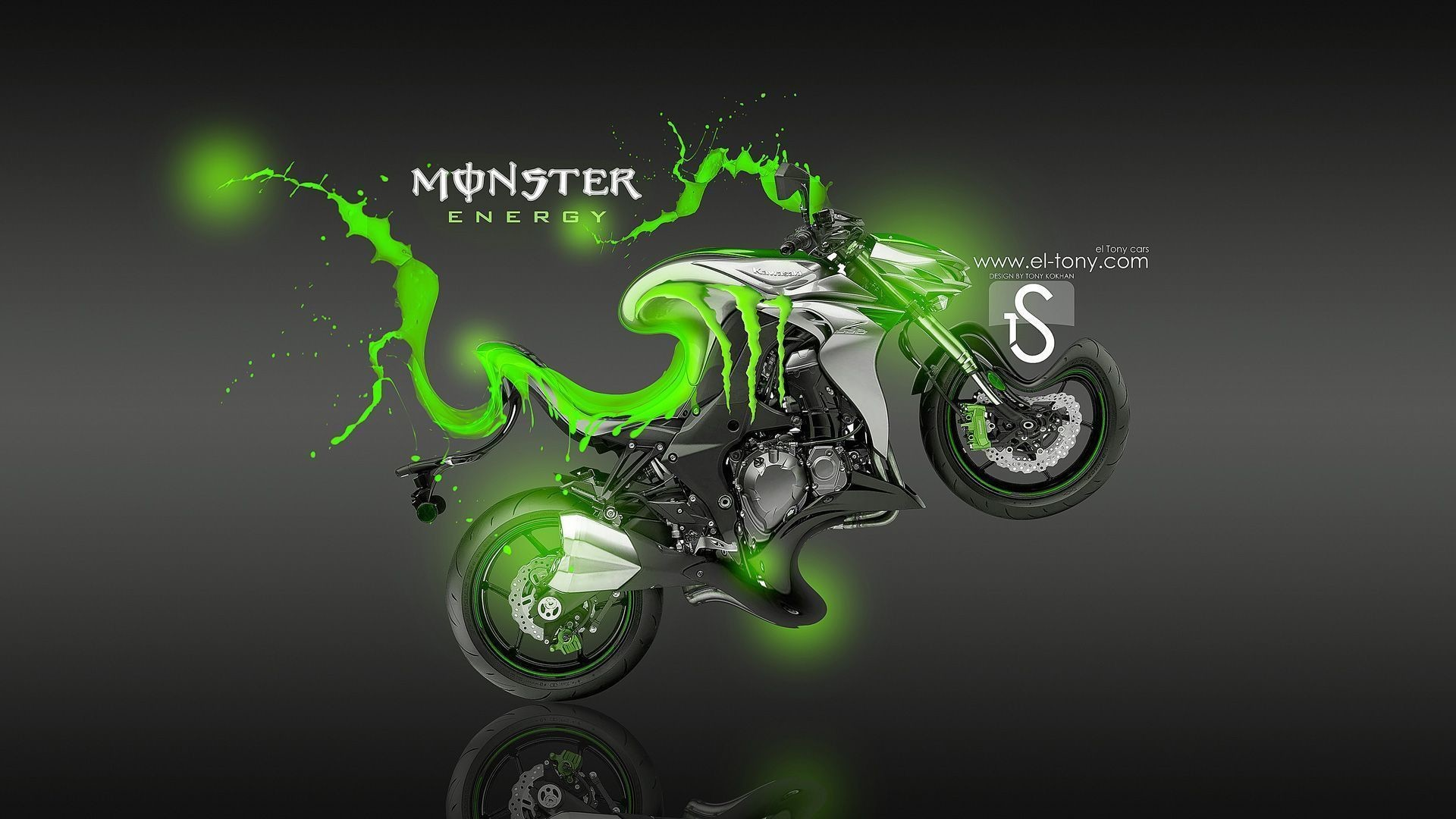 1920x1080 Tony Kokhan Monster Energy Logo Ford Mustang Gt Muscle Car Front Green Aerography Tuning Acid Drink