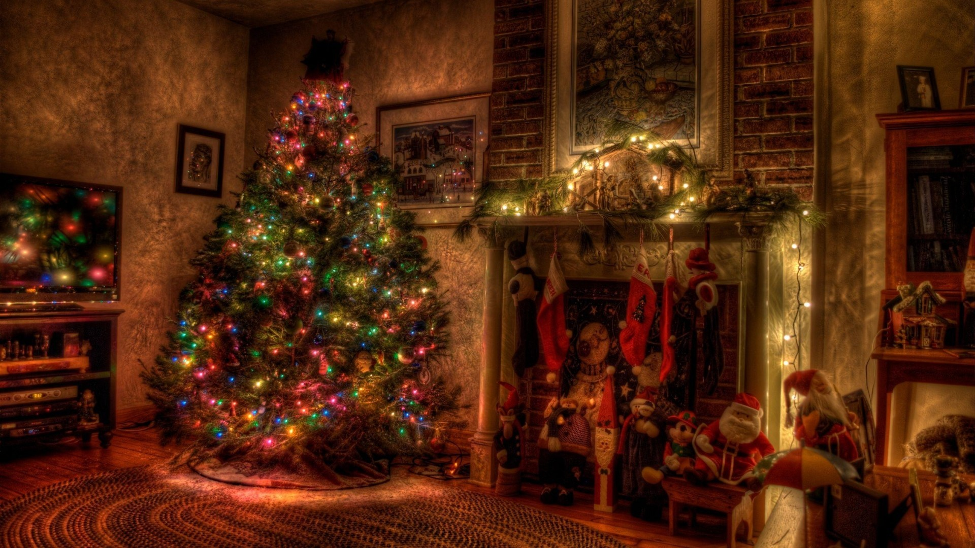 1920x1080 Preview wallpaper tree, christmas, holiday, garland, fireplace, toys,  stockings