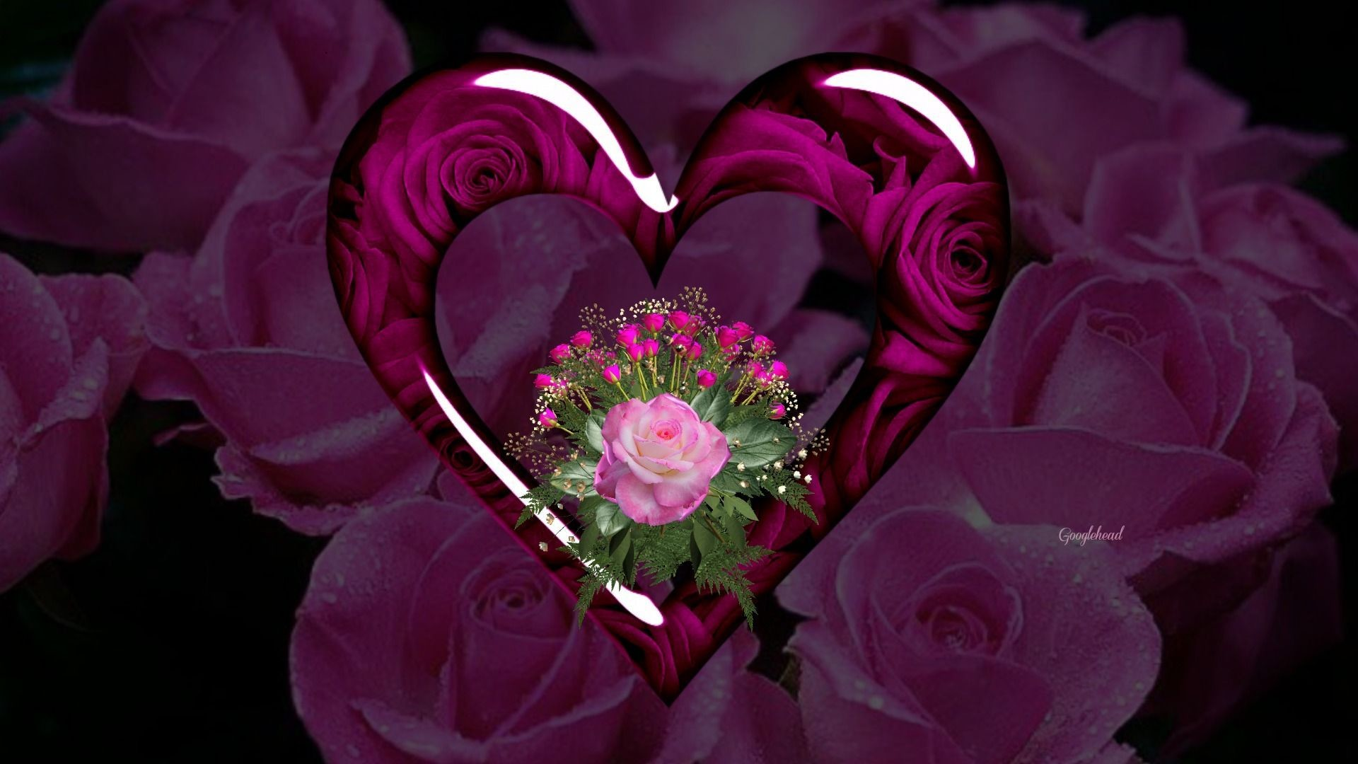 Purple hearts backgrounds 47 images - Pink roses and hearts wallpaper ...