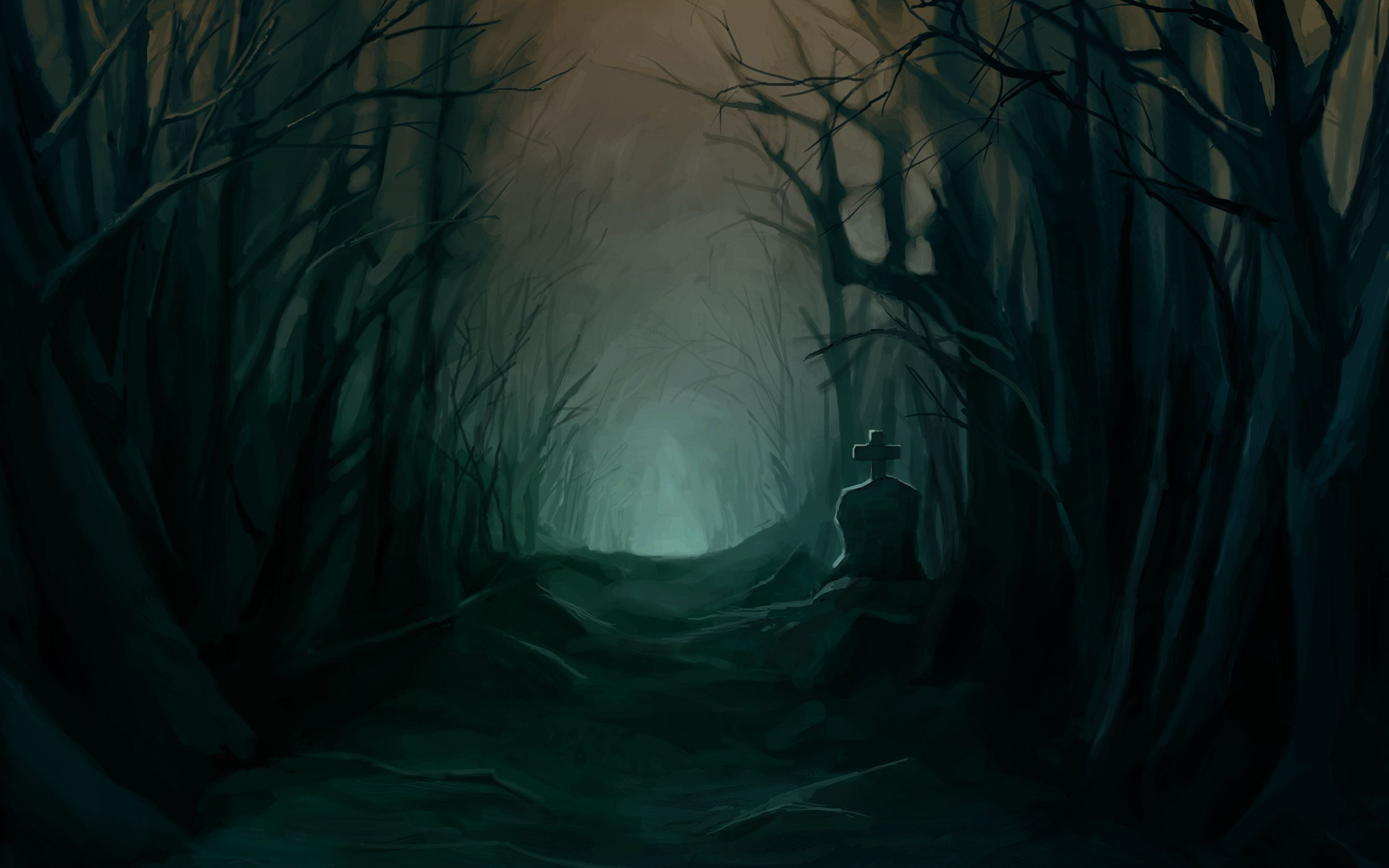 2880x1800 Wallpaper Dark Forest, Creepy, Grave, Path, Scary, Trees .