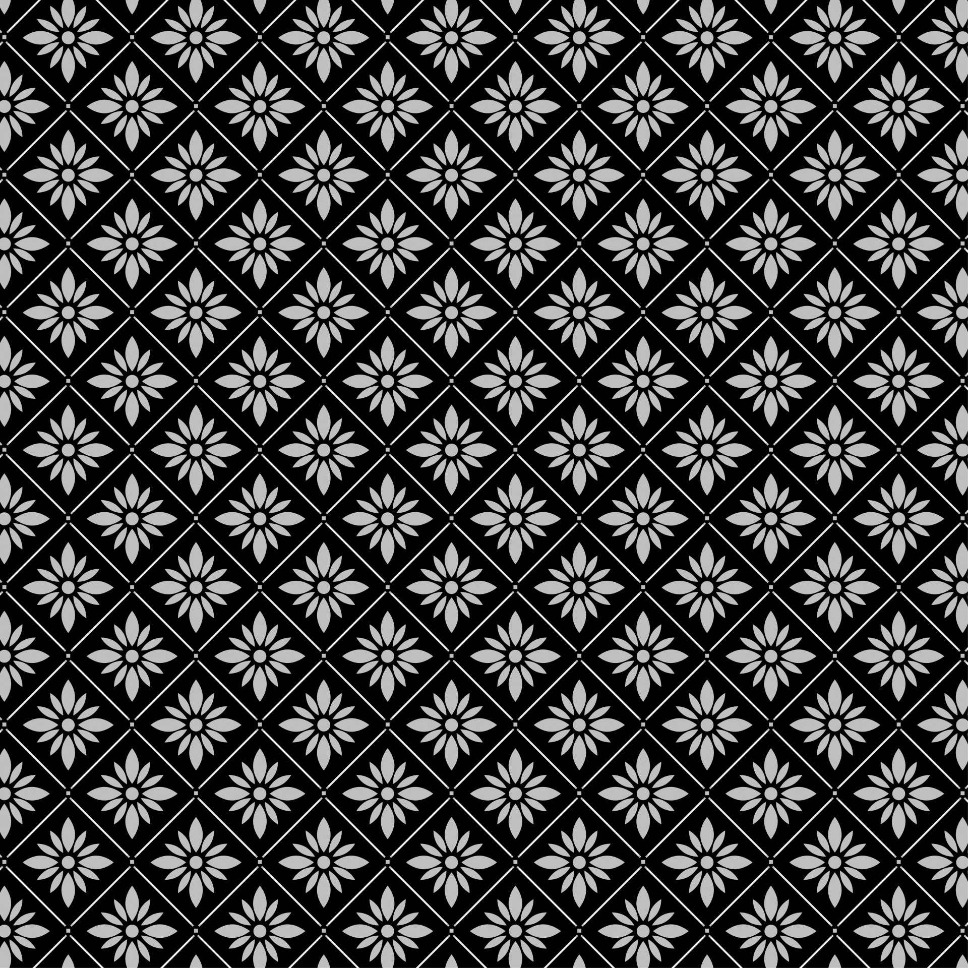 1920x1920 Floral Black Grey Wallpaper