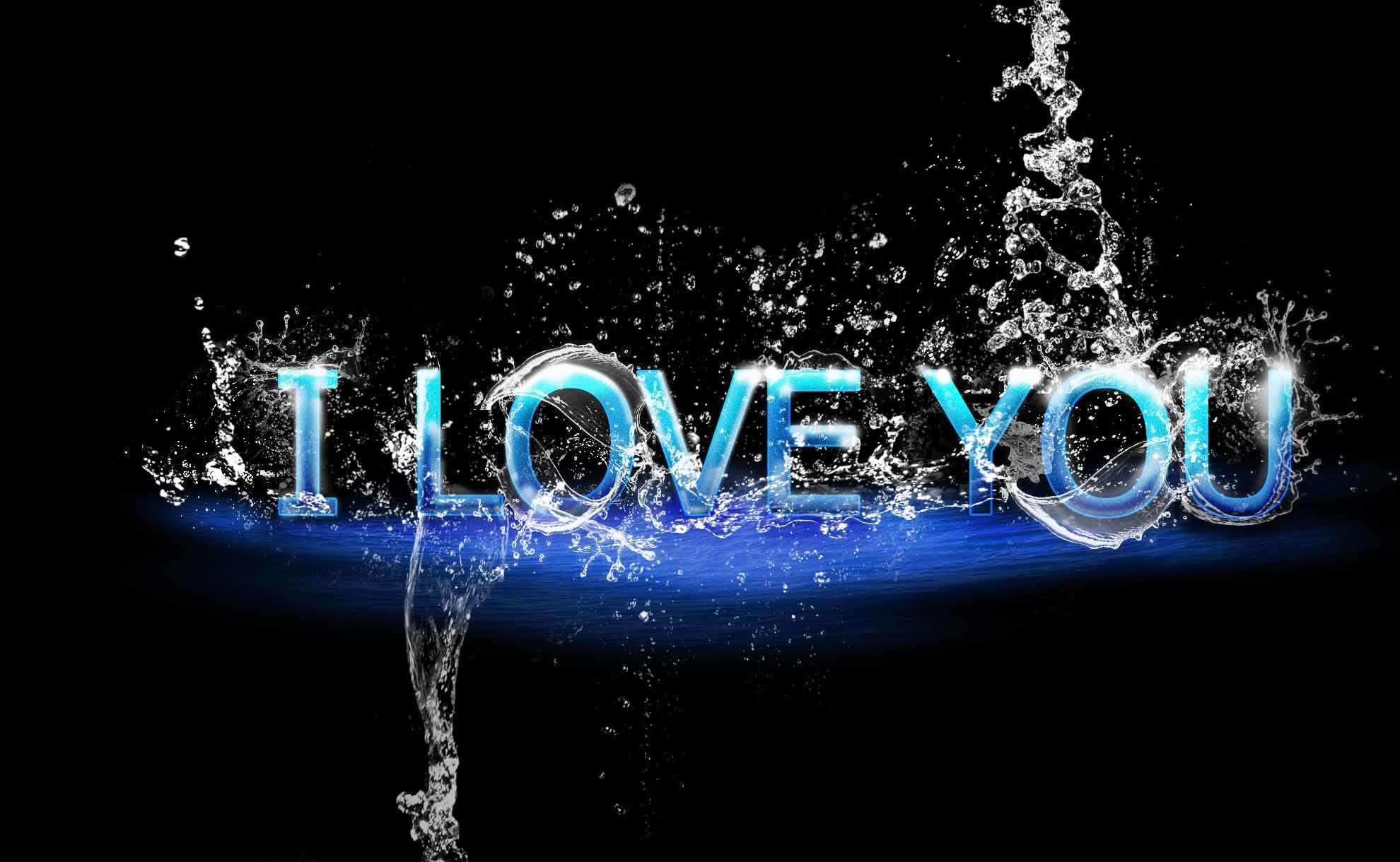 1980x1220 Aweysome I love you 3D water love wallpaper