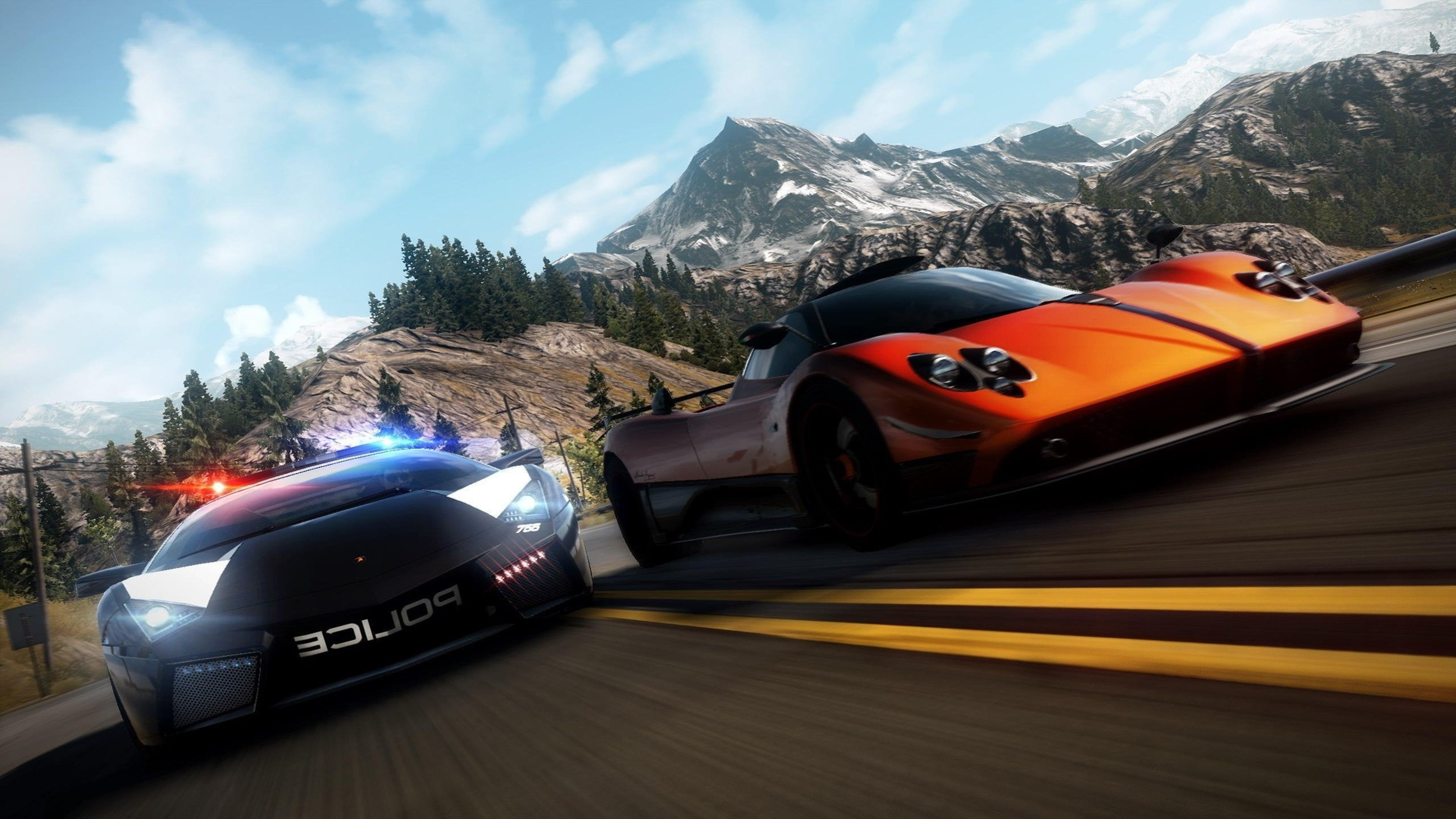 3840x2160 Preview wallpaper nfs, need for speed, police, road, mountain, sky