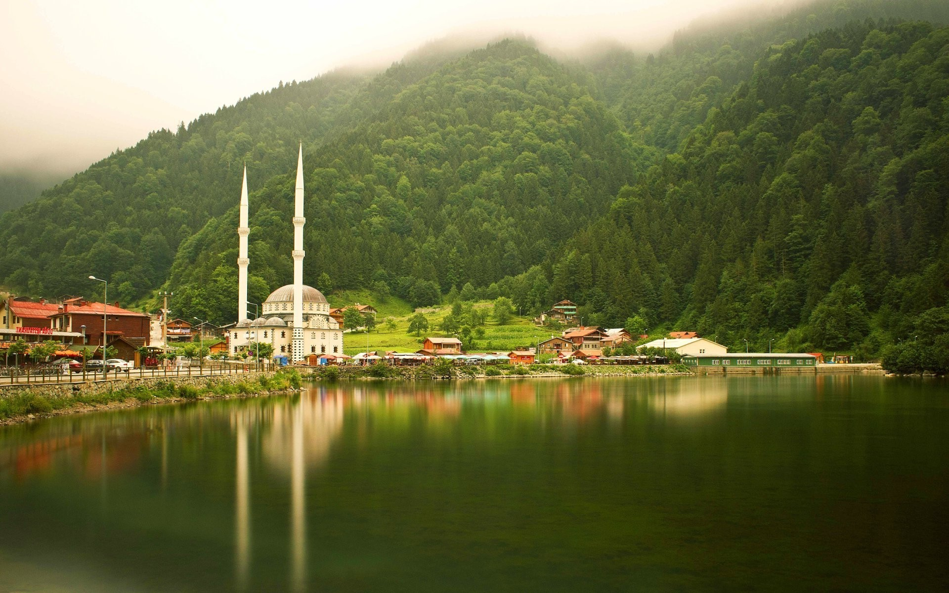 1920x1200 nature, Landscape, Turkey, Uzungöl, Trabzon, Mosques, Trees, Forest, Lake,  Reflection, Mist, Hill Wallpapers HD / Desktop and Mobile Backgrounds