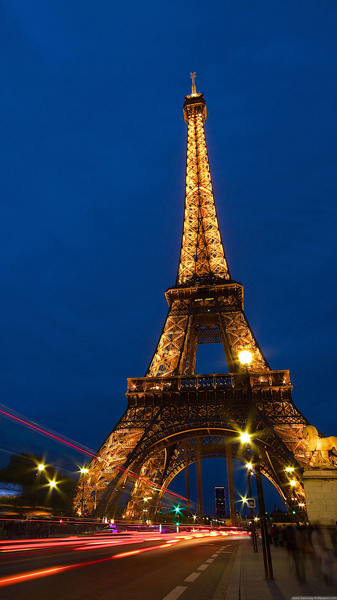 1080x1920 Eiffel Tower Lockscreen Night Traffic Lights iPhone 6 Plus HD Wallpaper ...