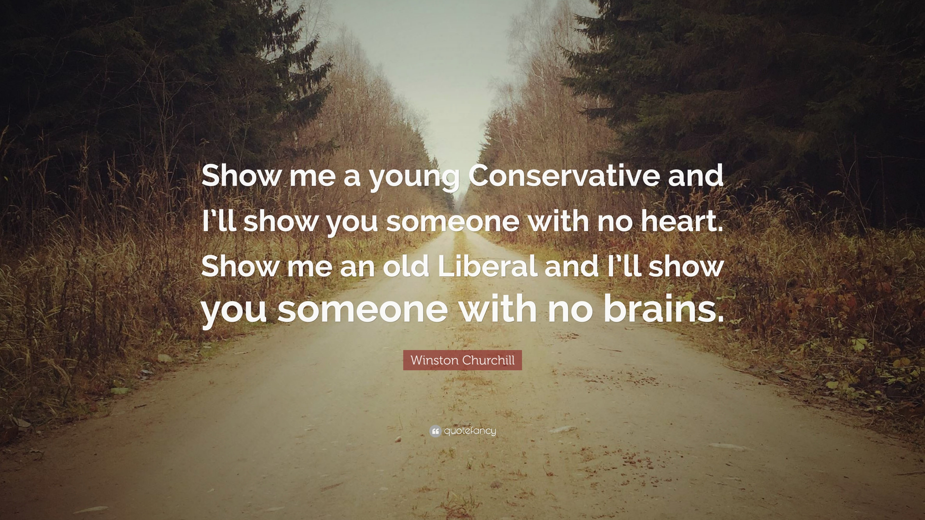 "3840x2160 Winston Churchill Quote: ""Show me a young Conservative and I'll show you"