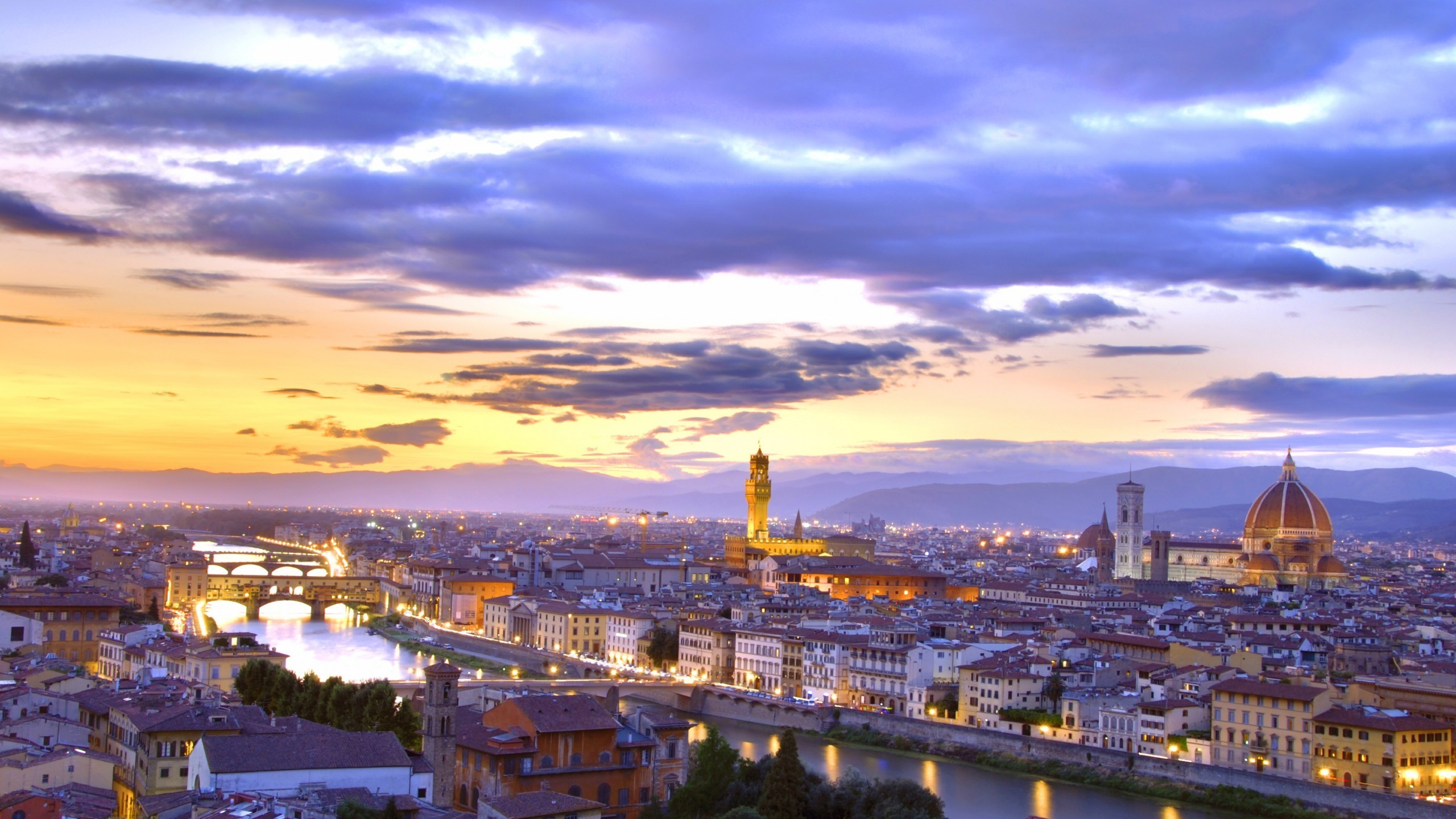 2560x1440 Italy, Florence, Canal, Sunset, Cityscape, Buildings