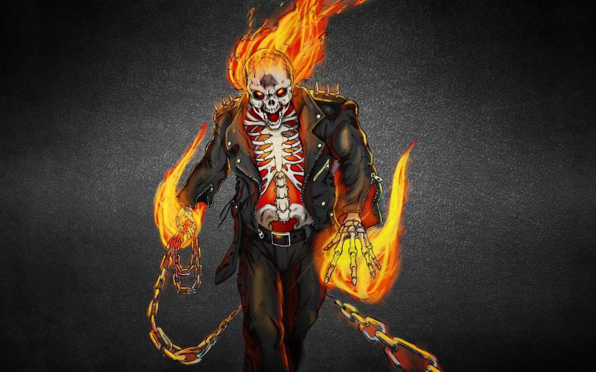 2048x1152 Download Wallpaper Ghost Rider Skull Fire