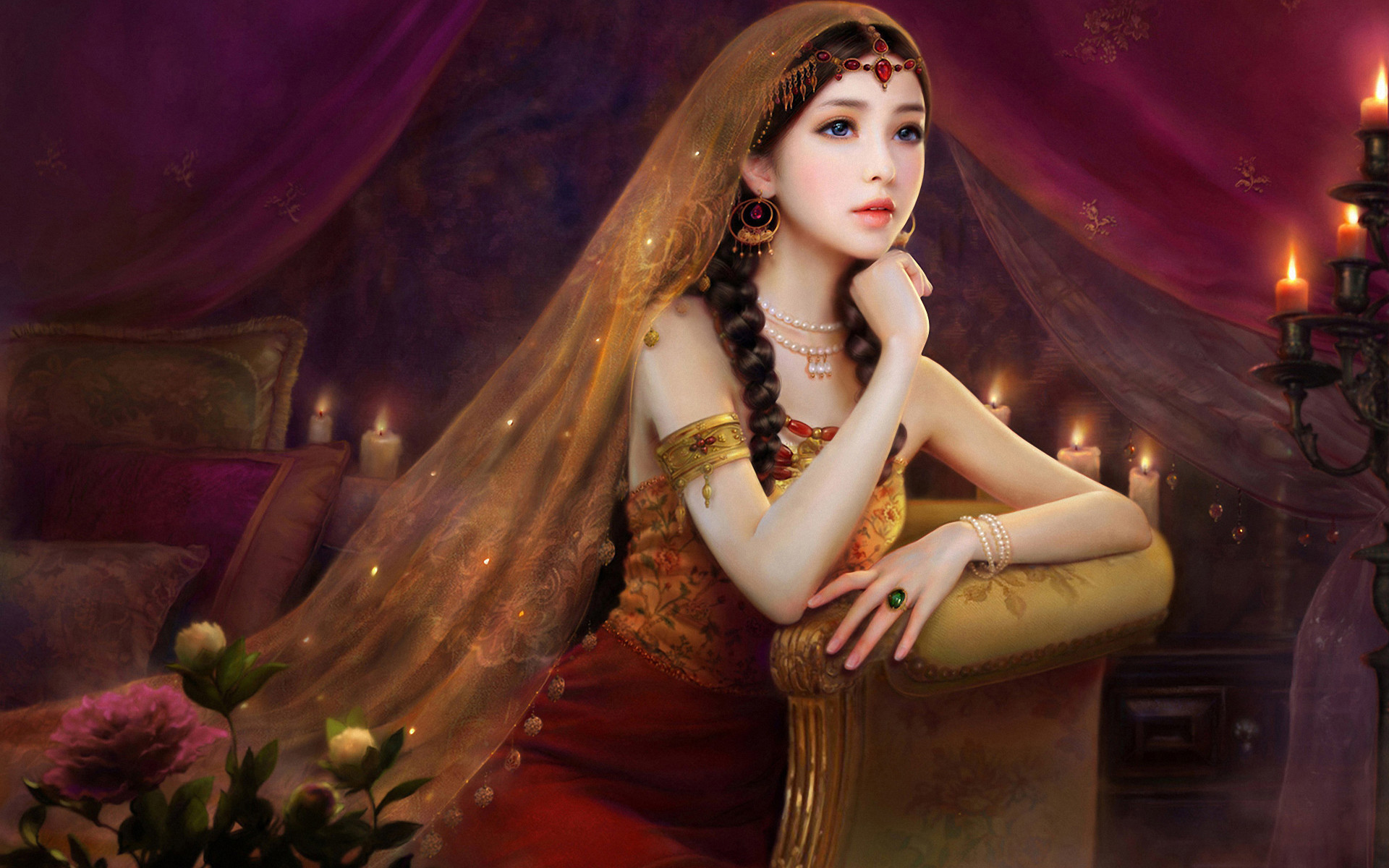 1920x1200  women fantasy girl painting wallpaper
